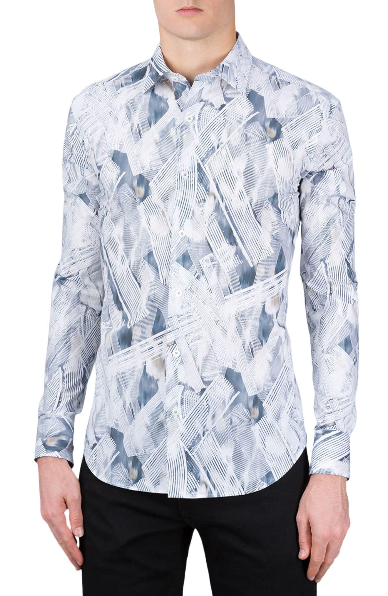 Shaped Fit Print Sport Shirt,                         Main,                         color, Graphite
