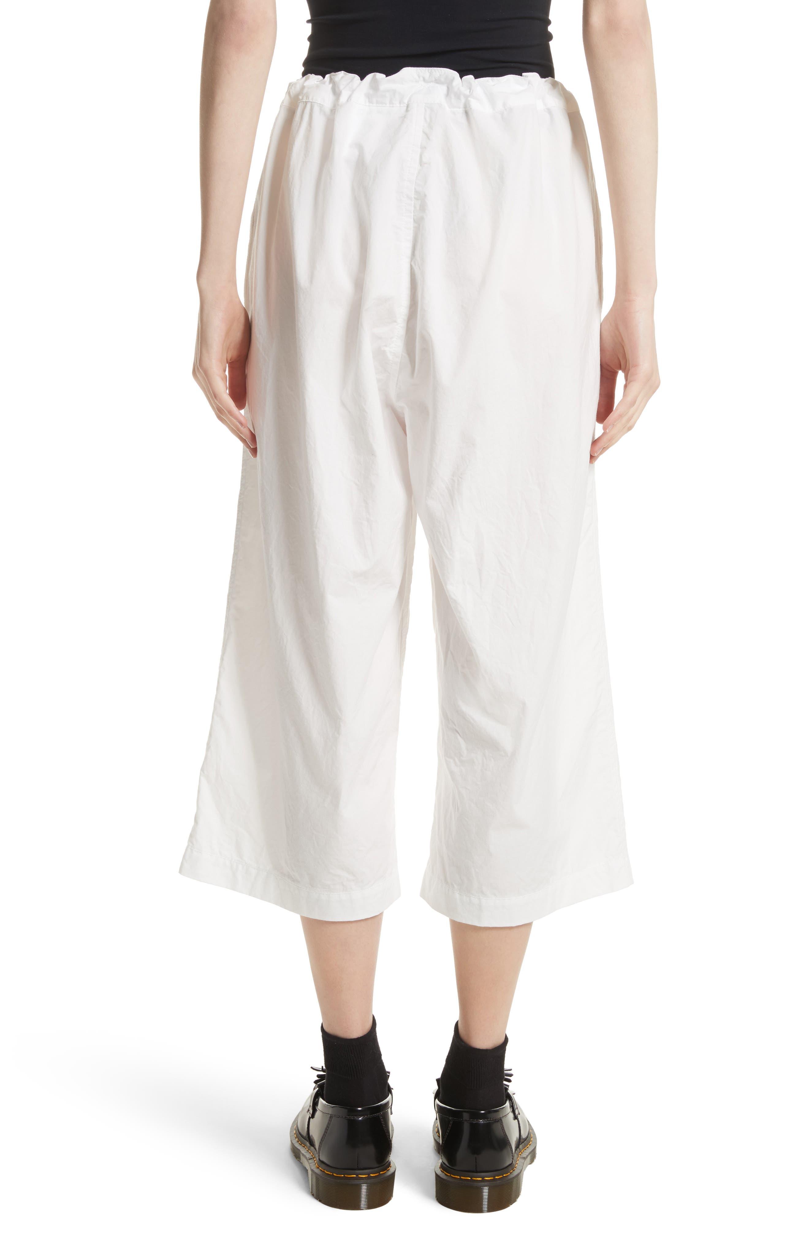Washed Cotton Wide Leg Crop Pants,                             Alternate thumbnail 2, color,                             White