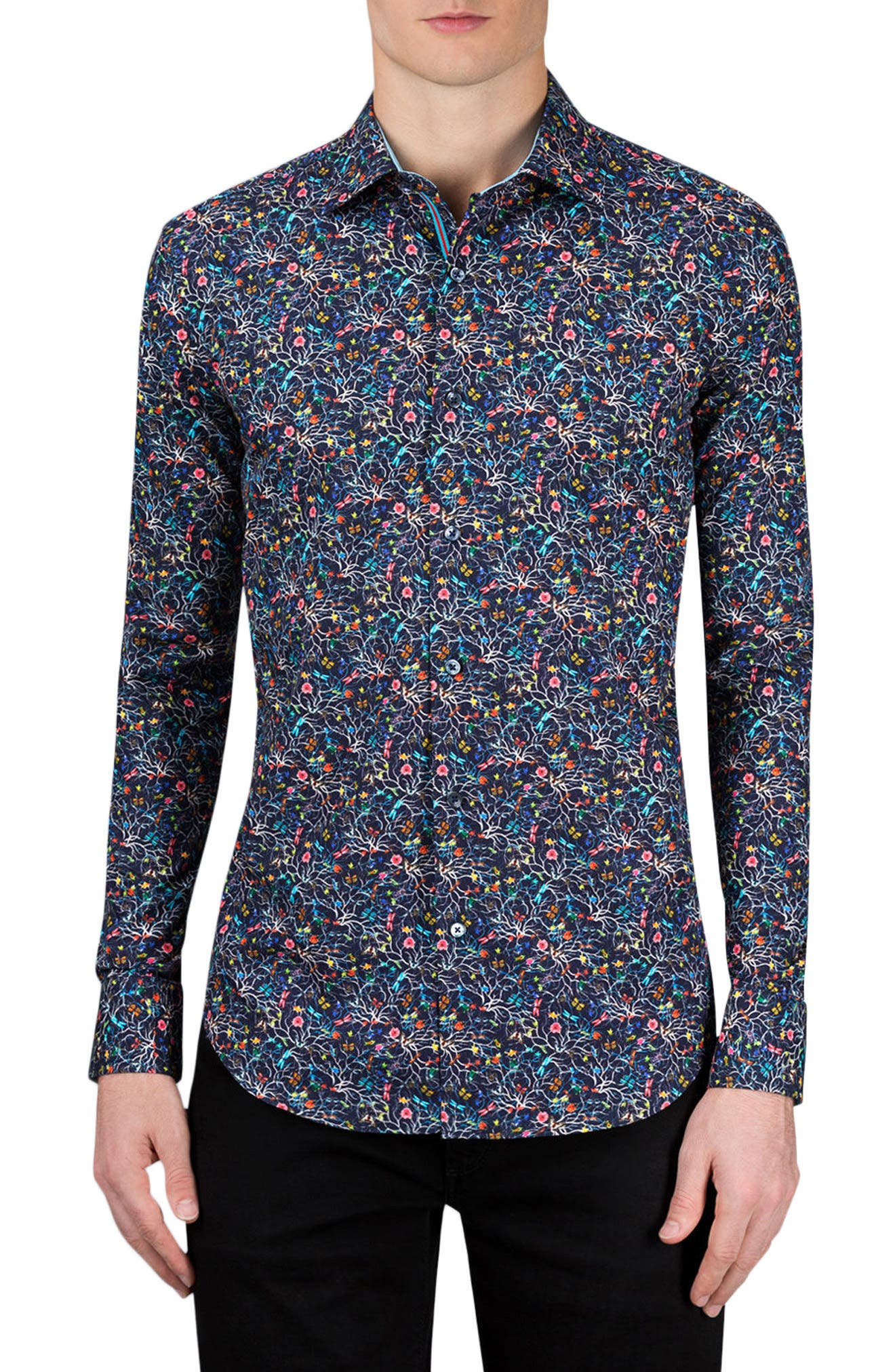 Shaped Fit Print Sport Shirt,                             Main thumbnail 1, color,                             Midnight