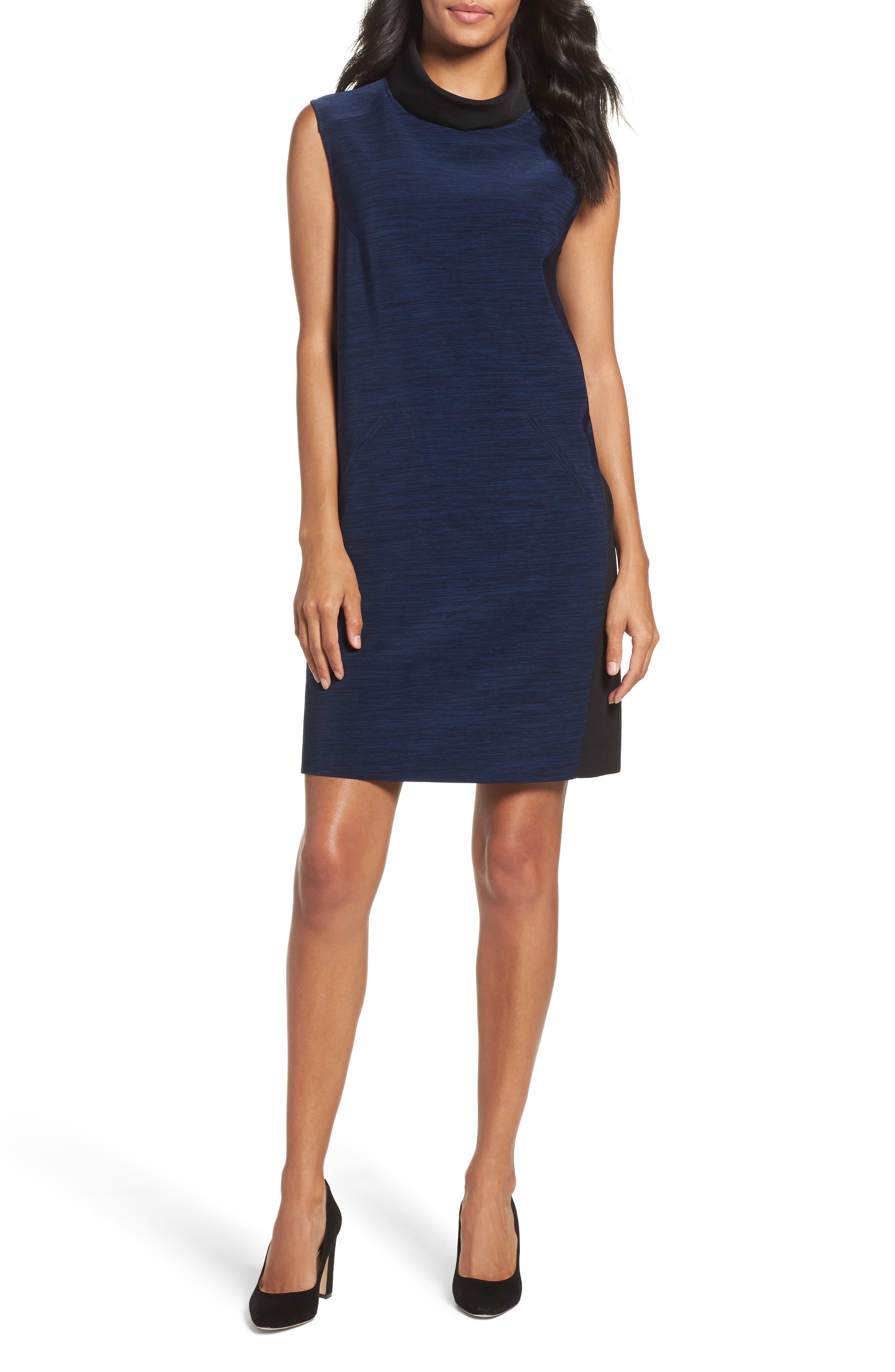 Alternate Image 4  - Tahari Turtleneck Shift Dress (Regular & Petite)