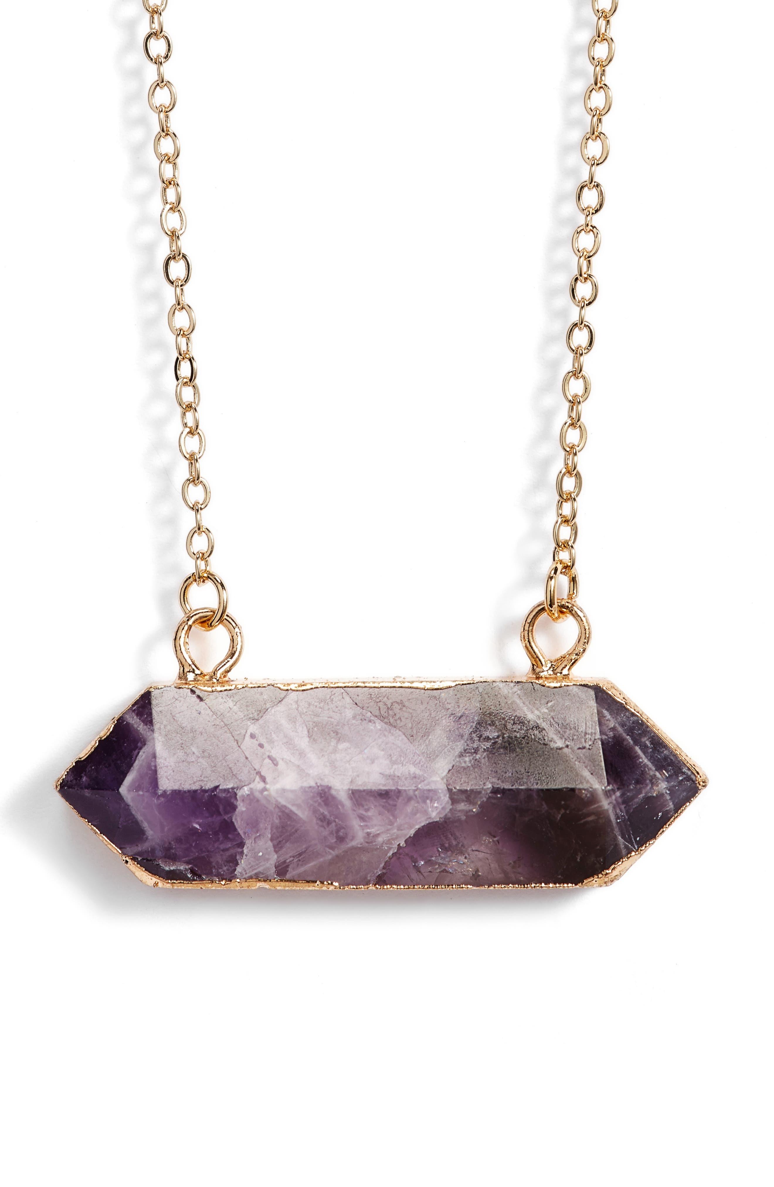 Riva Stone Pendant Necklace,                             Main thumbnail 1, color,                             Amethyst