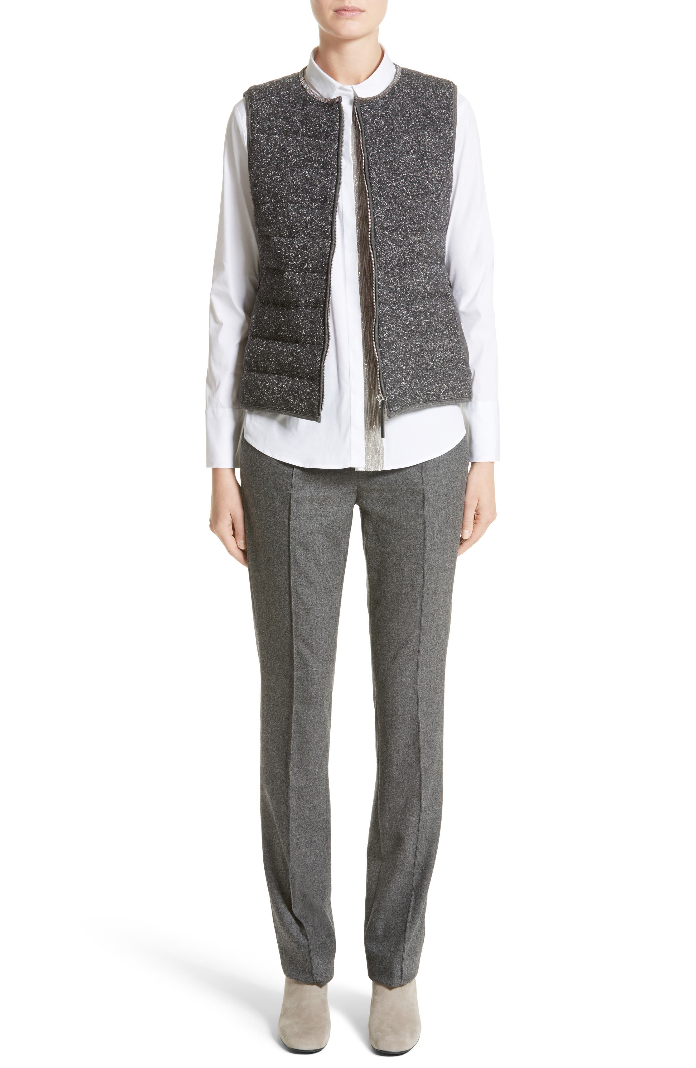 Alternate Image 7  - Fabiana Filippi Pebbled Knit Front Quilted Down Vest