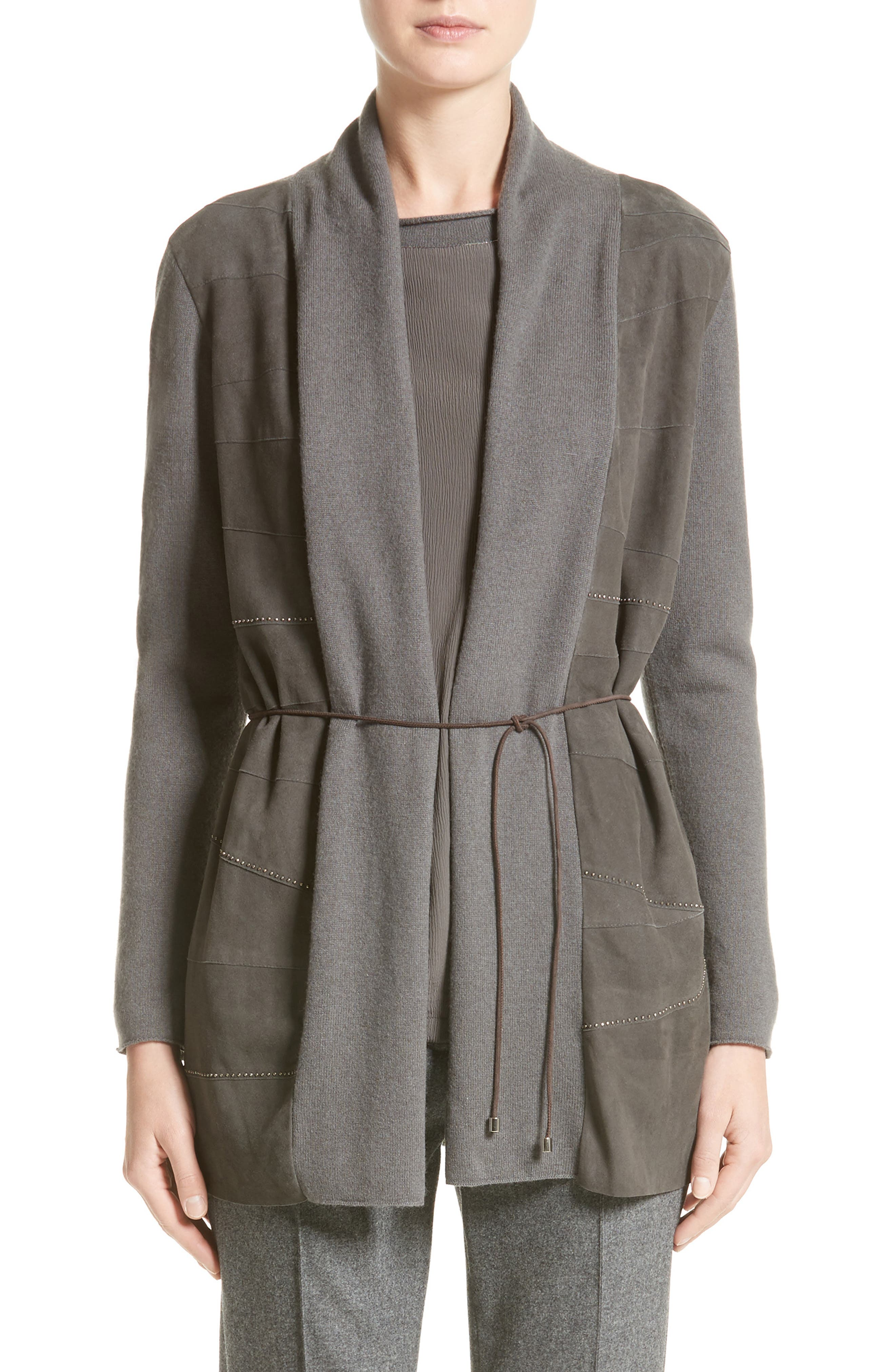 Suede Trim Wool, Silk & Cashmere Cardigan,                             Main thumbnail 1, color,                             Slate