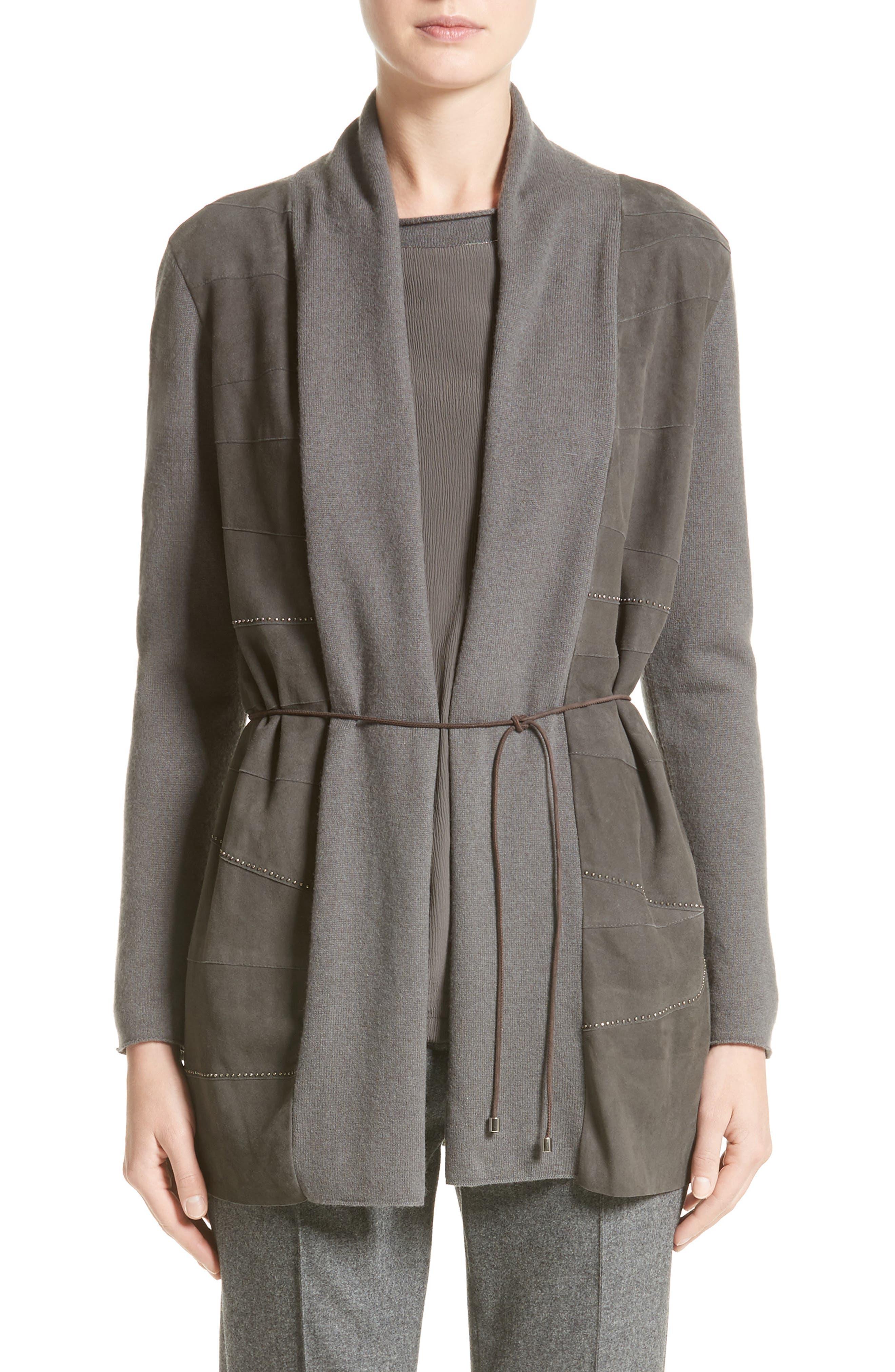 Fabiana Filippi Suede Trim Wool, Silk & Cashmere Cardigan