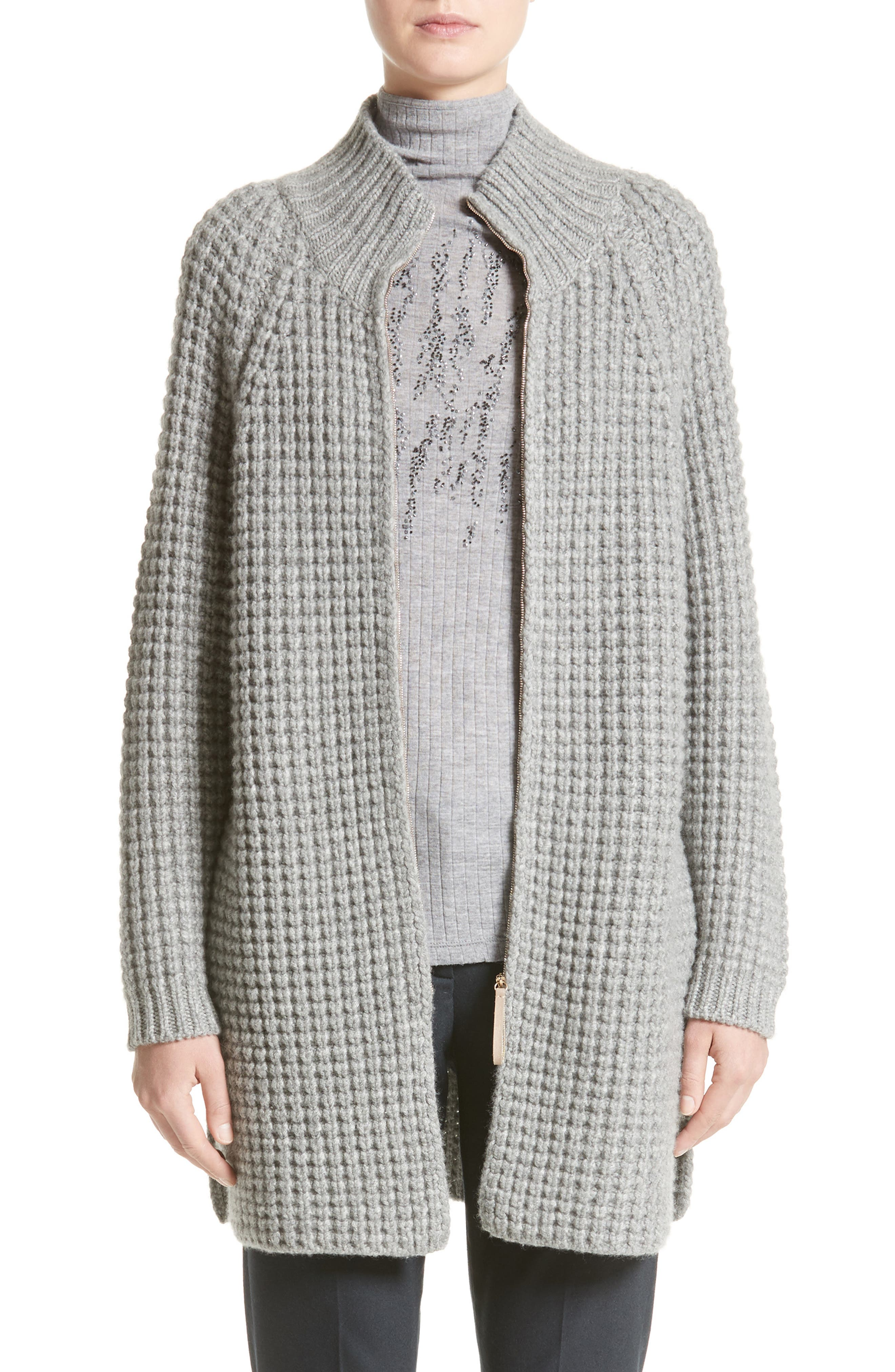 Ribbed Cashmere Cardigan,                         Main,                         color, Grey