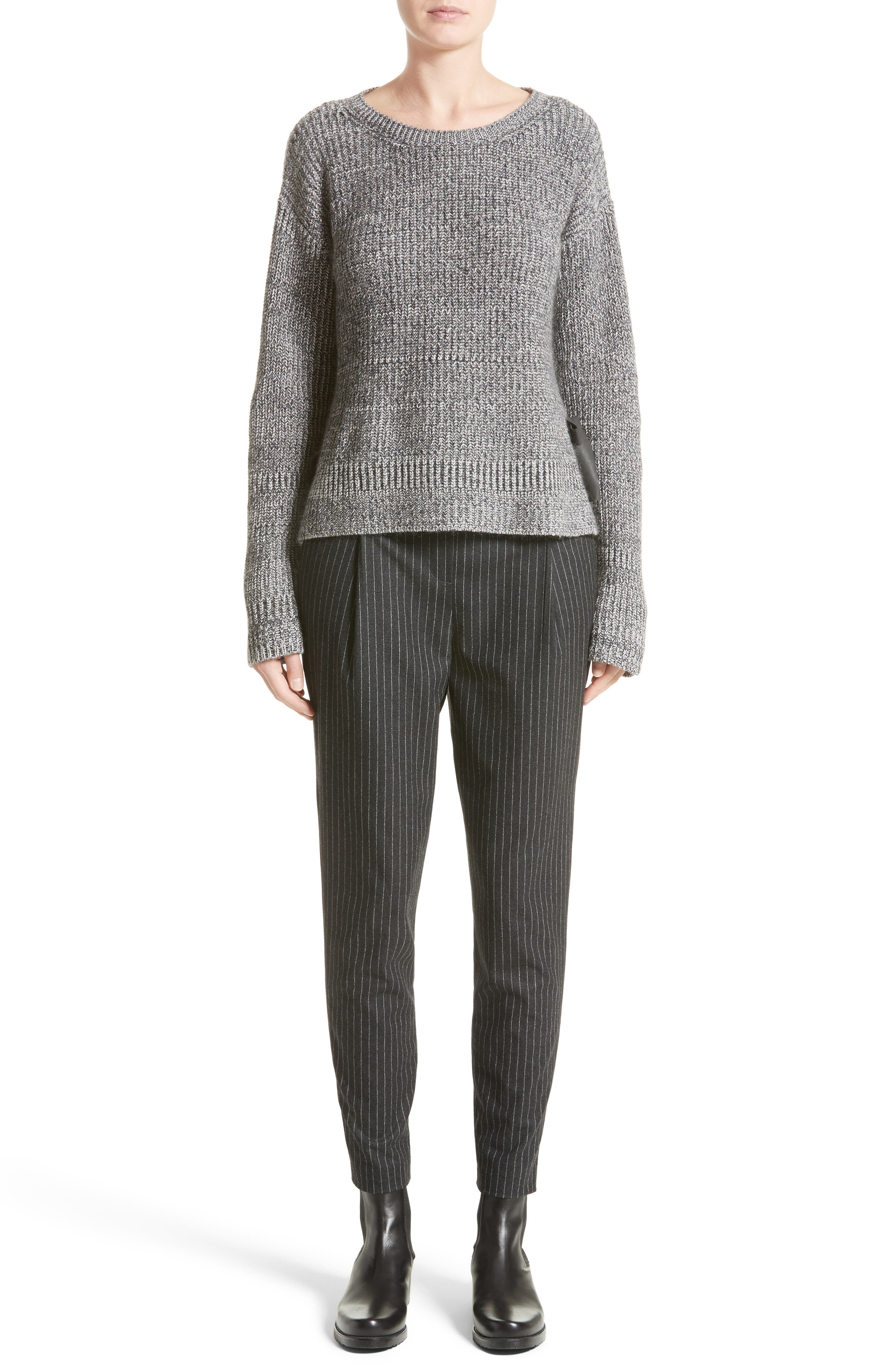 Pinstripe Wool Flannel Pants,                             Alternate thumbnail 8, color,                             Charcoal