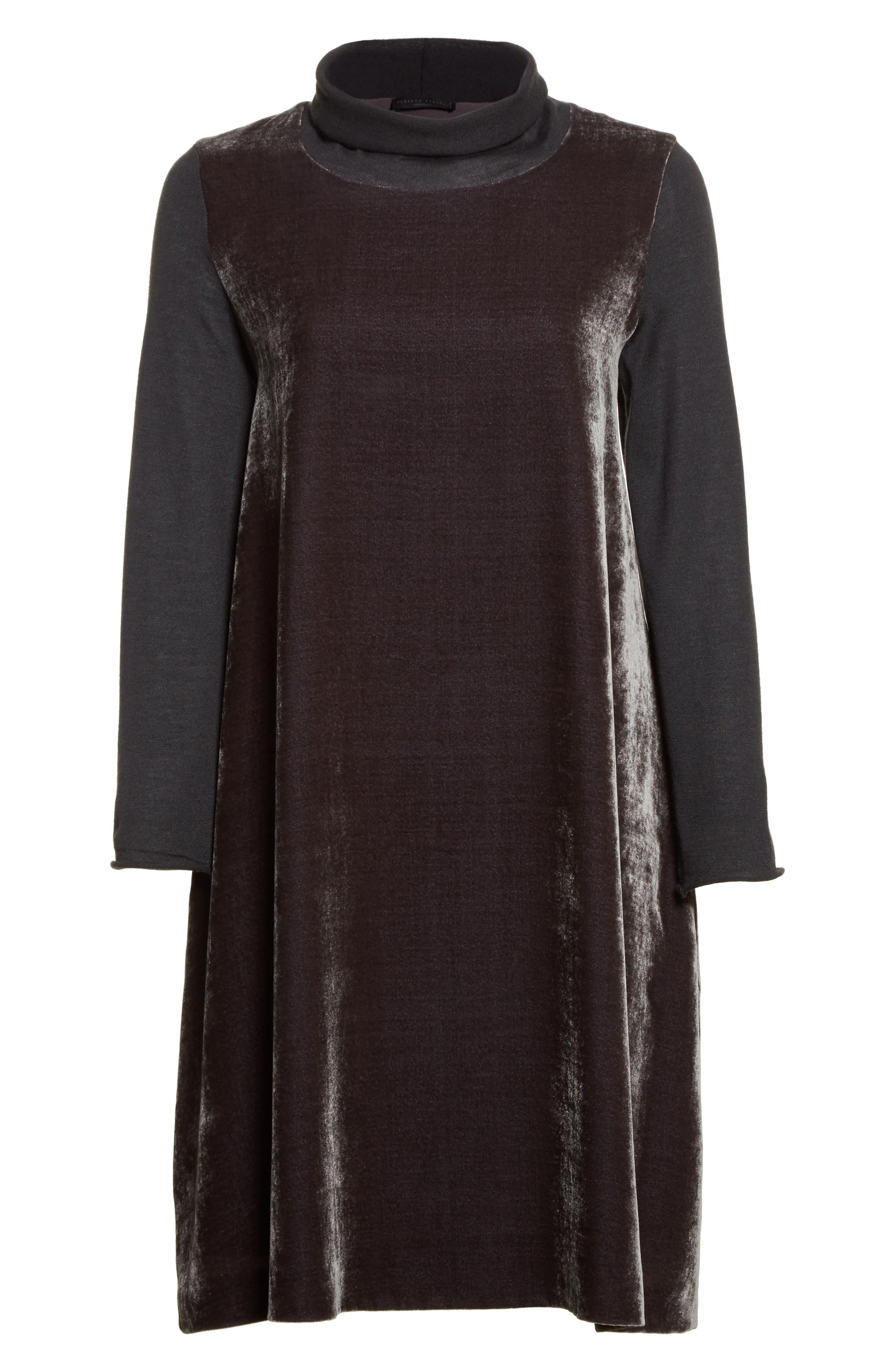 Velvet Turtleneck Dress,                             Alternate thumbnail 4, color,                             Charcoal