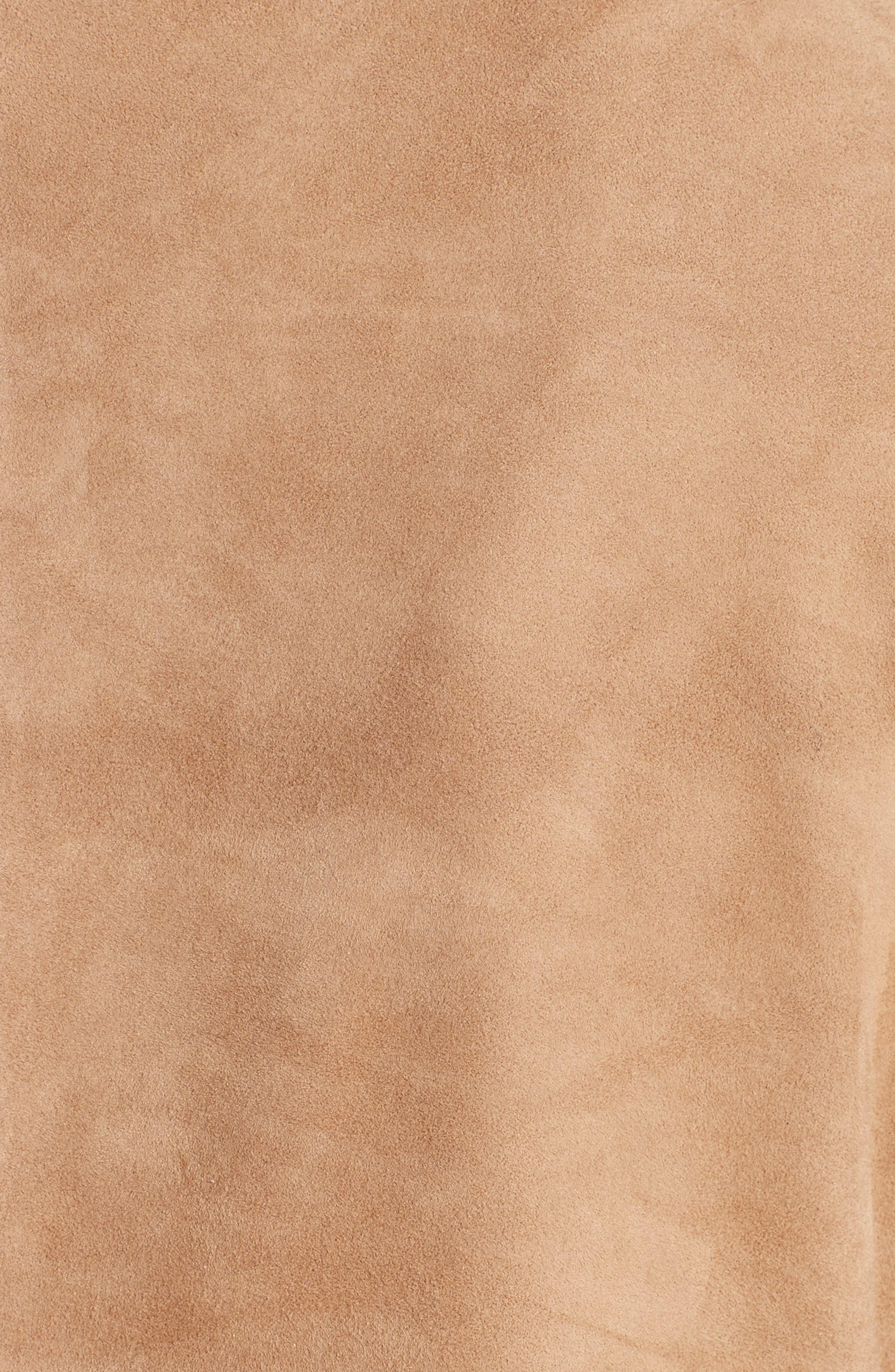 Suede & Cashmere Dress,                             Alternate thumbnail 3, color,                             Camel