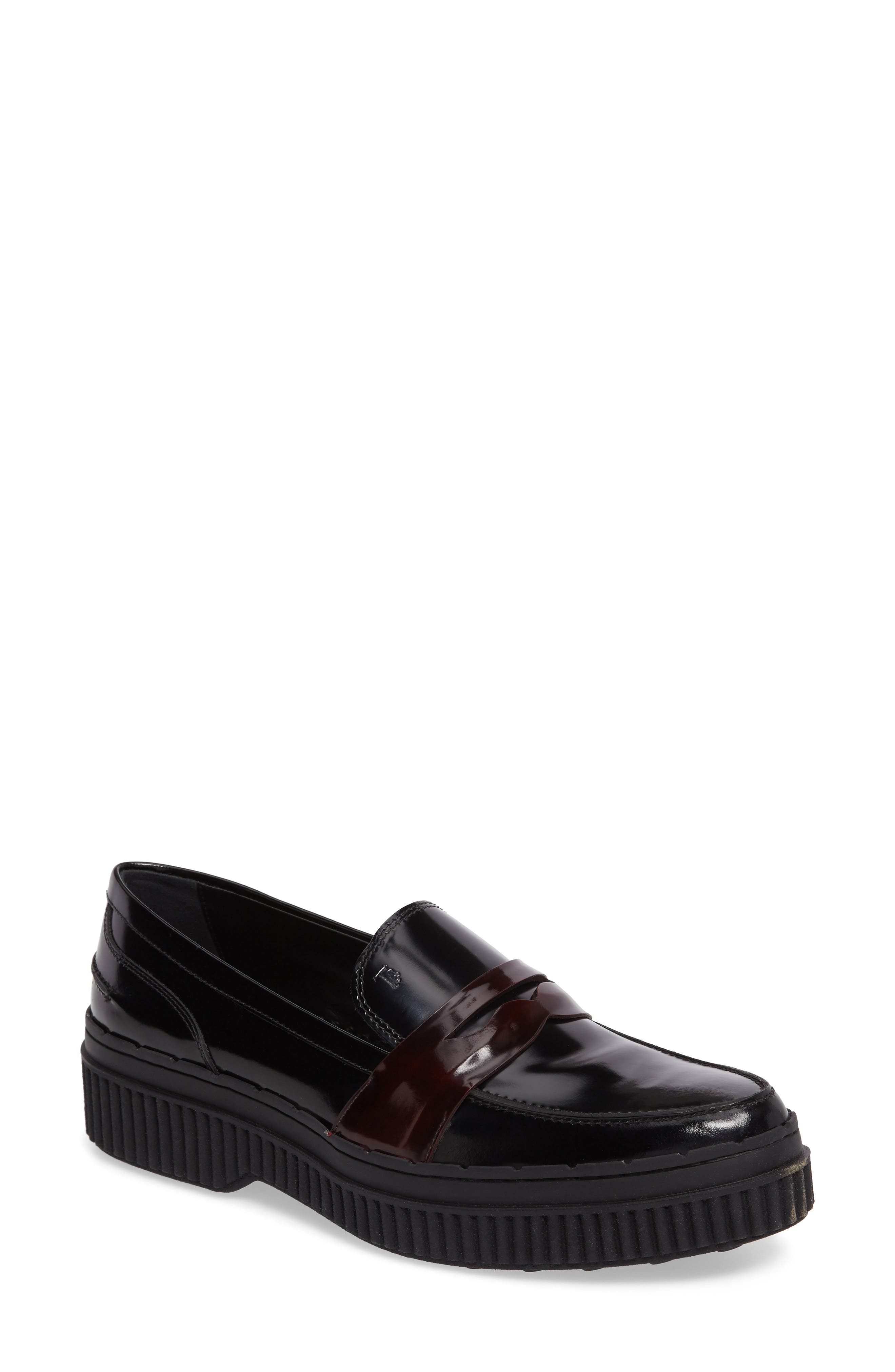 Penny Creeper Loafer,                             Main thumbnail 1, color,                             Black/ Oxblood