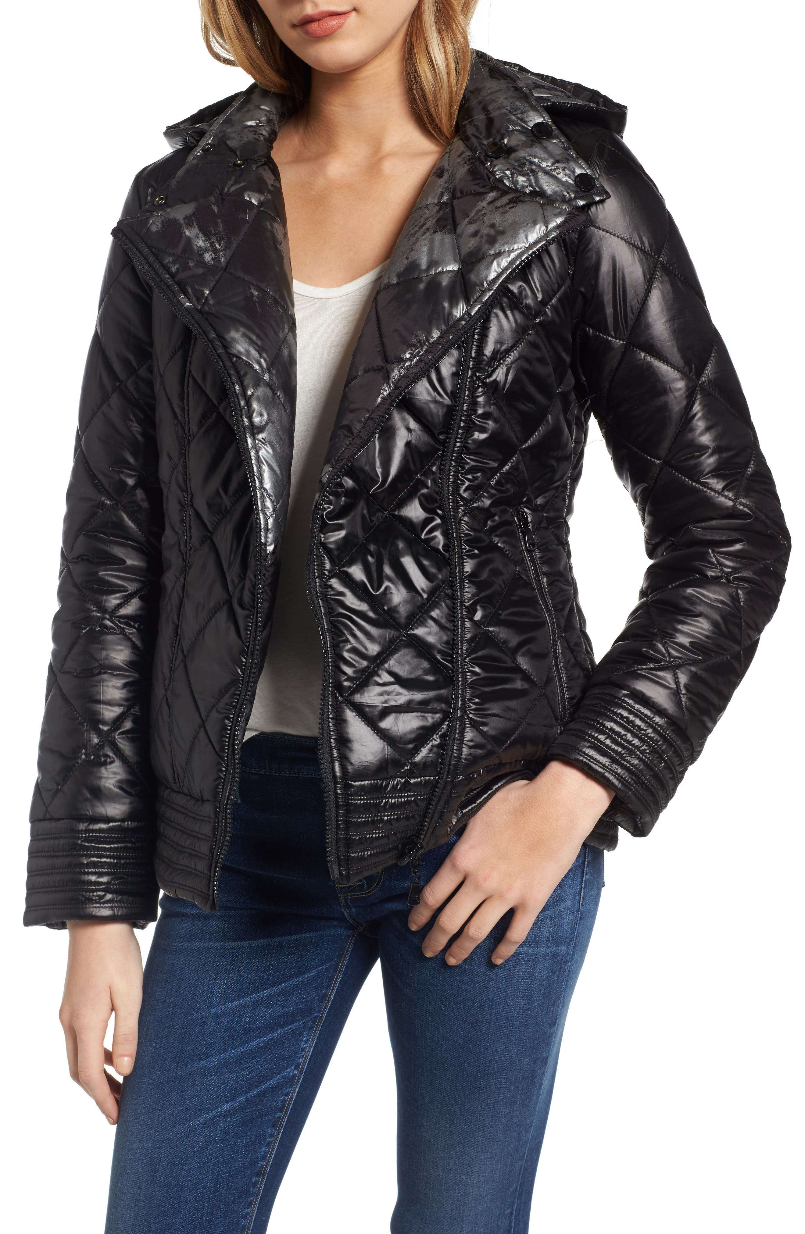 Reversible Packable Asymmetrical Quilted Jacket,                             Main thumbnail 1, color,                             Black/ Silver
