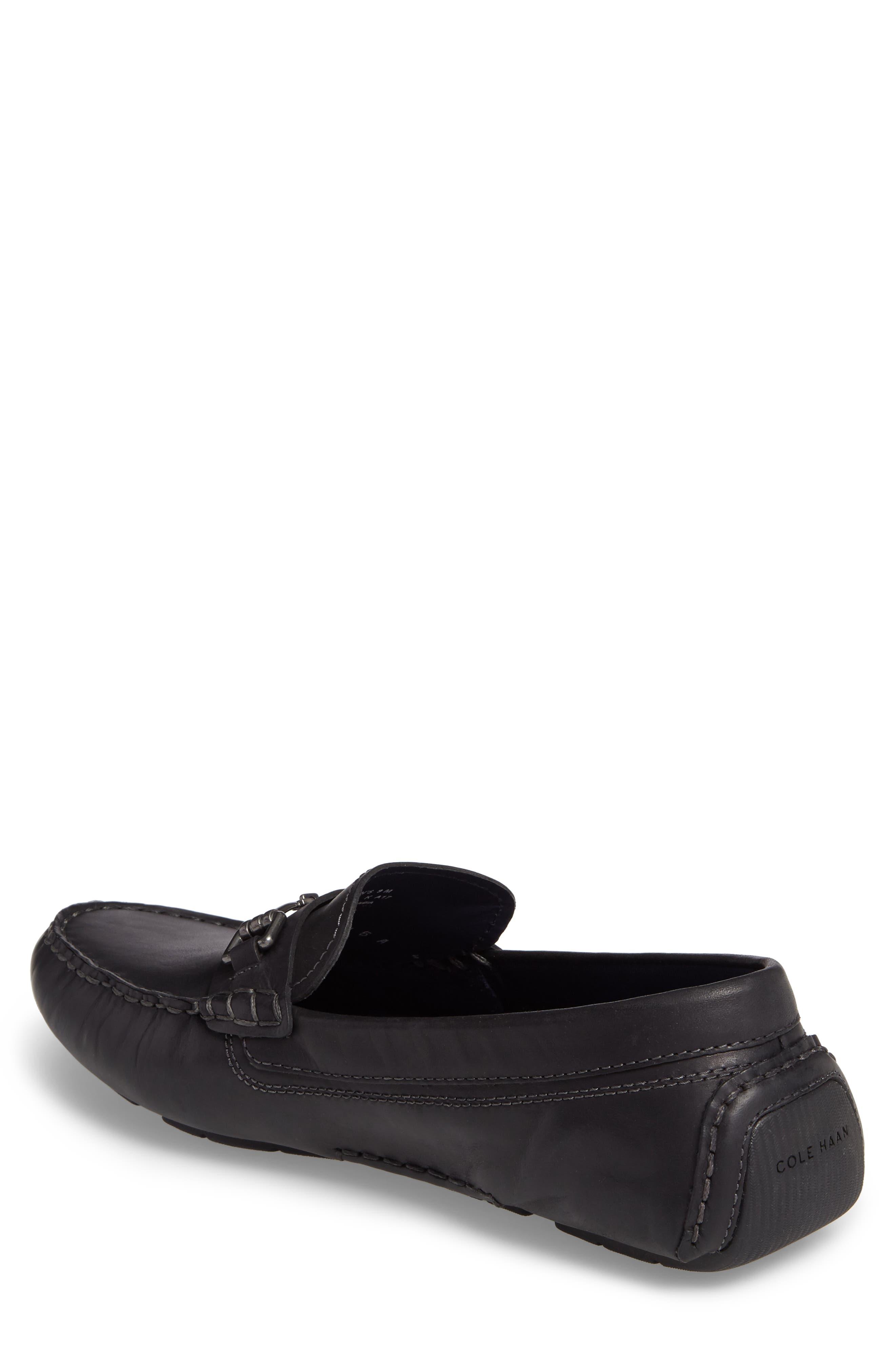 Kelson Bit Driving Shoe,                             Alternate thumbnail 2, color,                             Black Leather