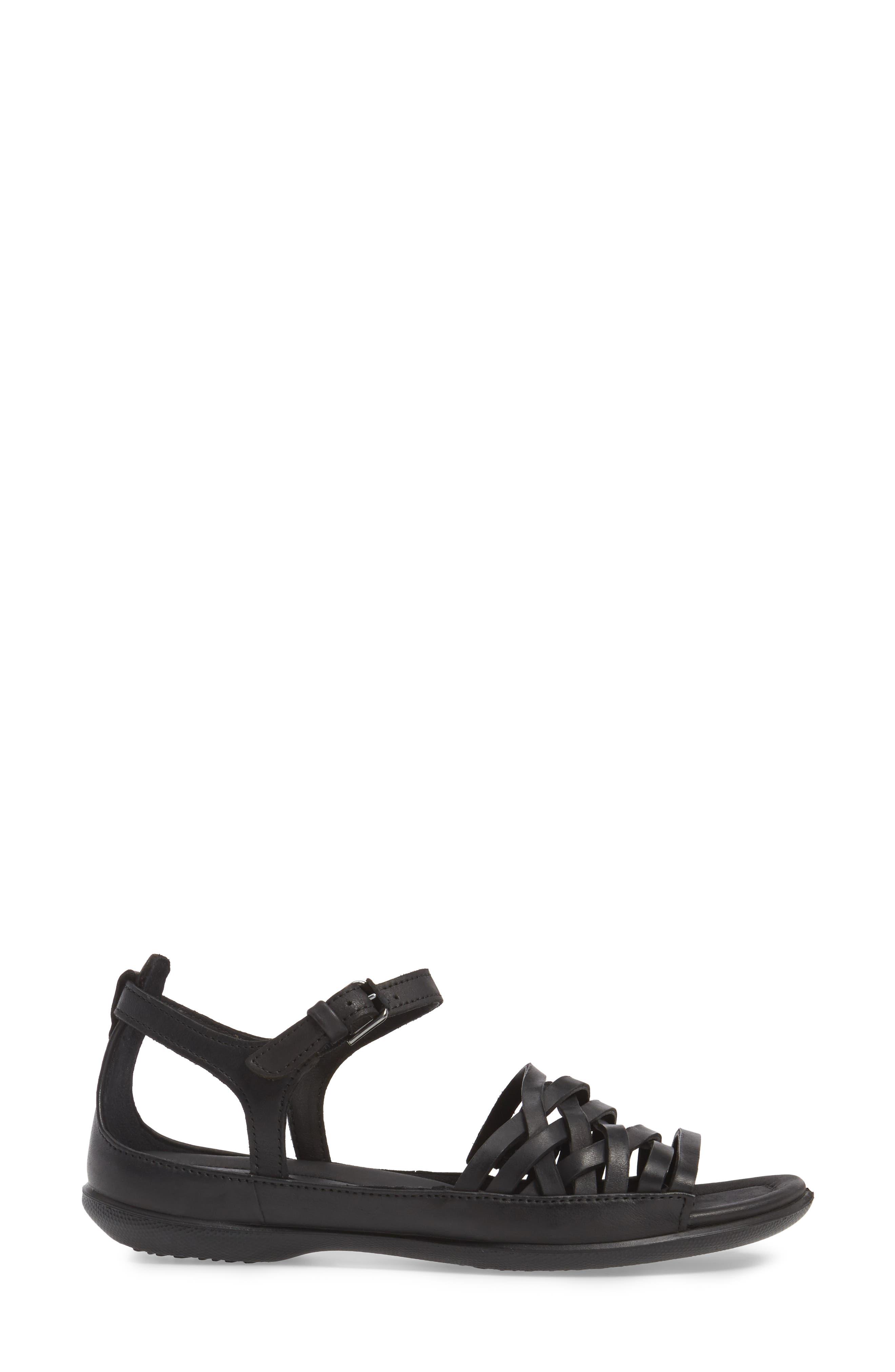 Flash Sandal,                             Alternate thumbnail 3, color,                             Black Leather