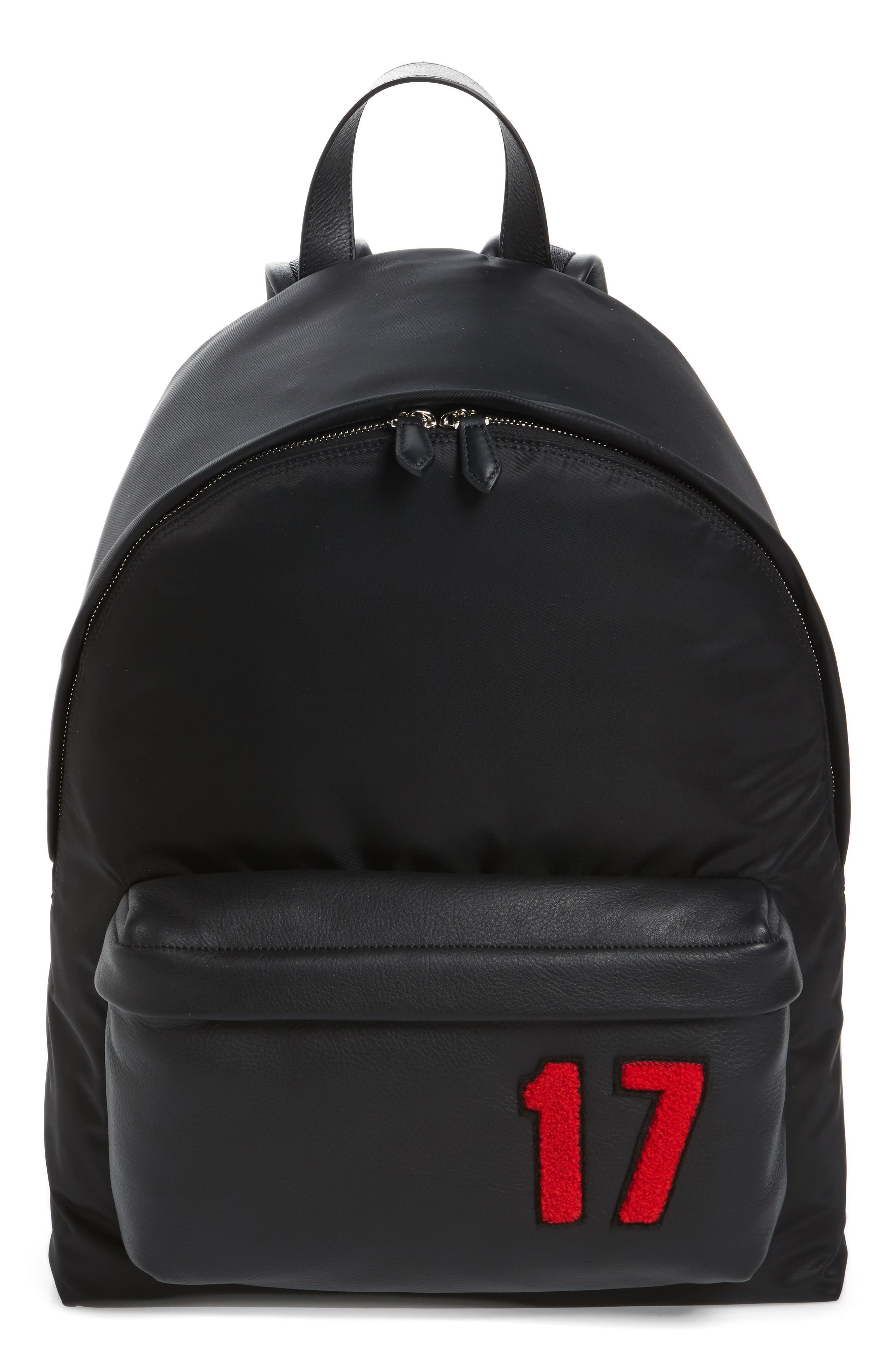 17 Patch Mix Media Backpack,                             Main thumbnail 1, color,                             Black/ Red