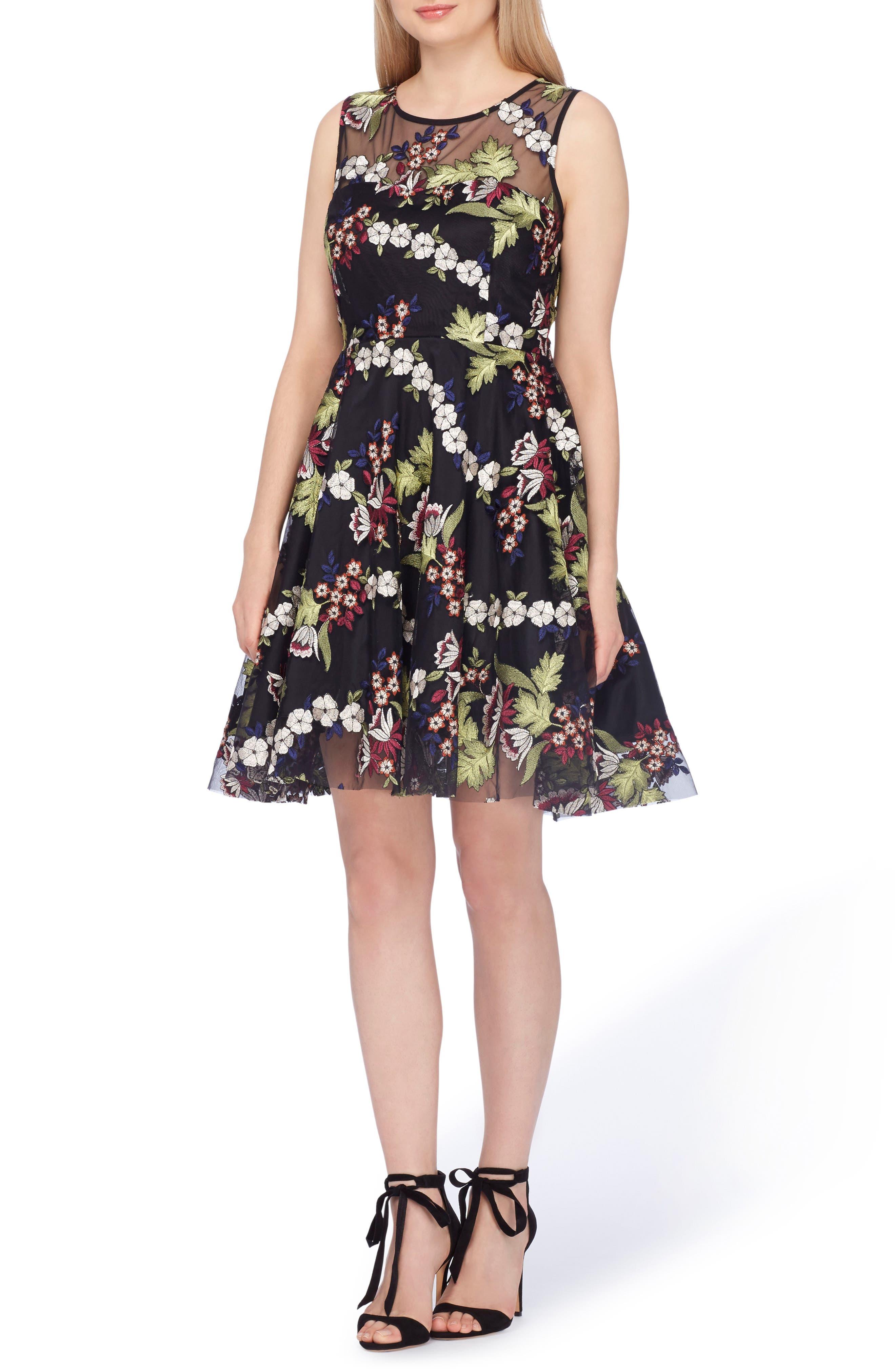 Tahari Embroidered Fit & Flare Dress (Regular & Petite)