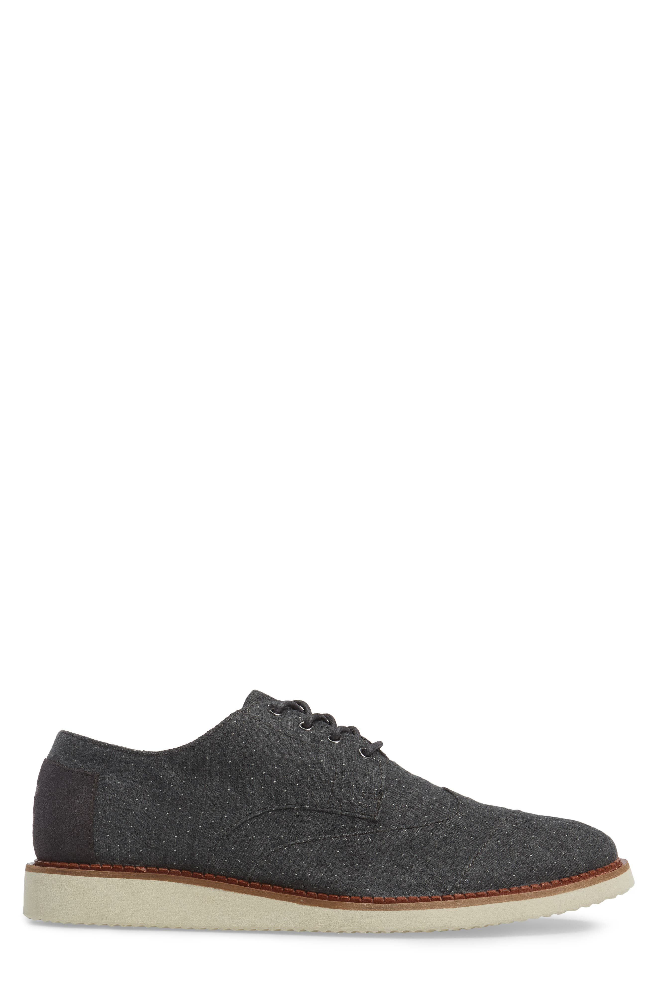 'Classic Brogue' Cotton Twill Derby,                             Alternate thumbnail 3, color,                             Grey