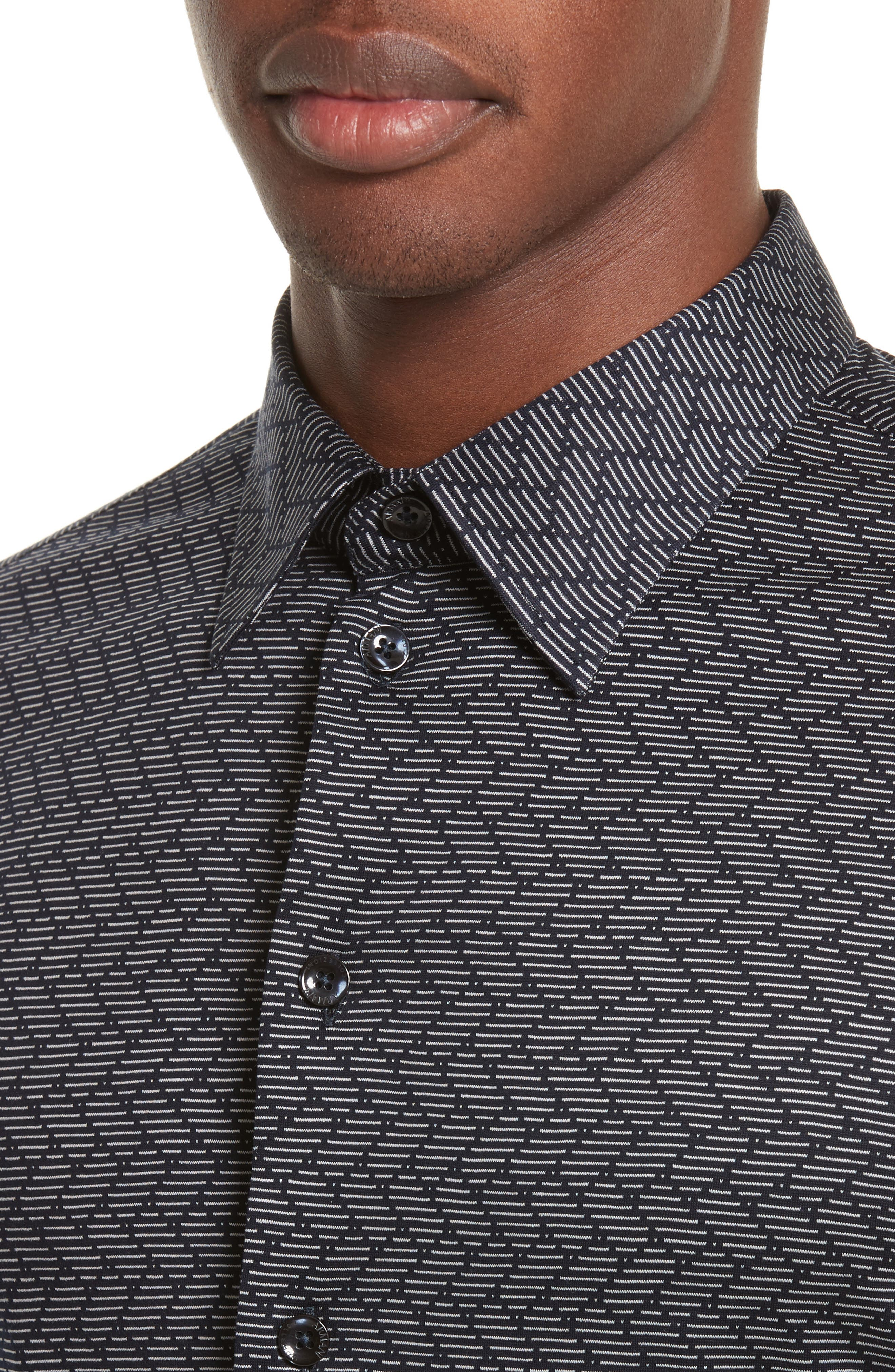 Regular Fit Chevron Stripe Sport Shirt,                             Alternate thumbnail 4, color,                             Fancy Blue Tone