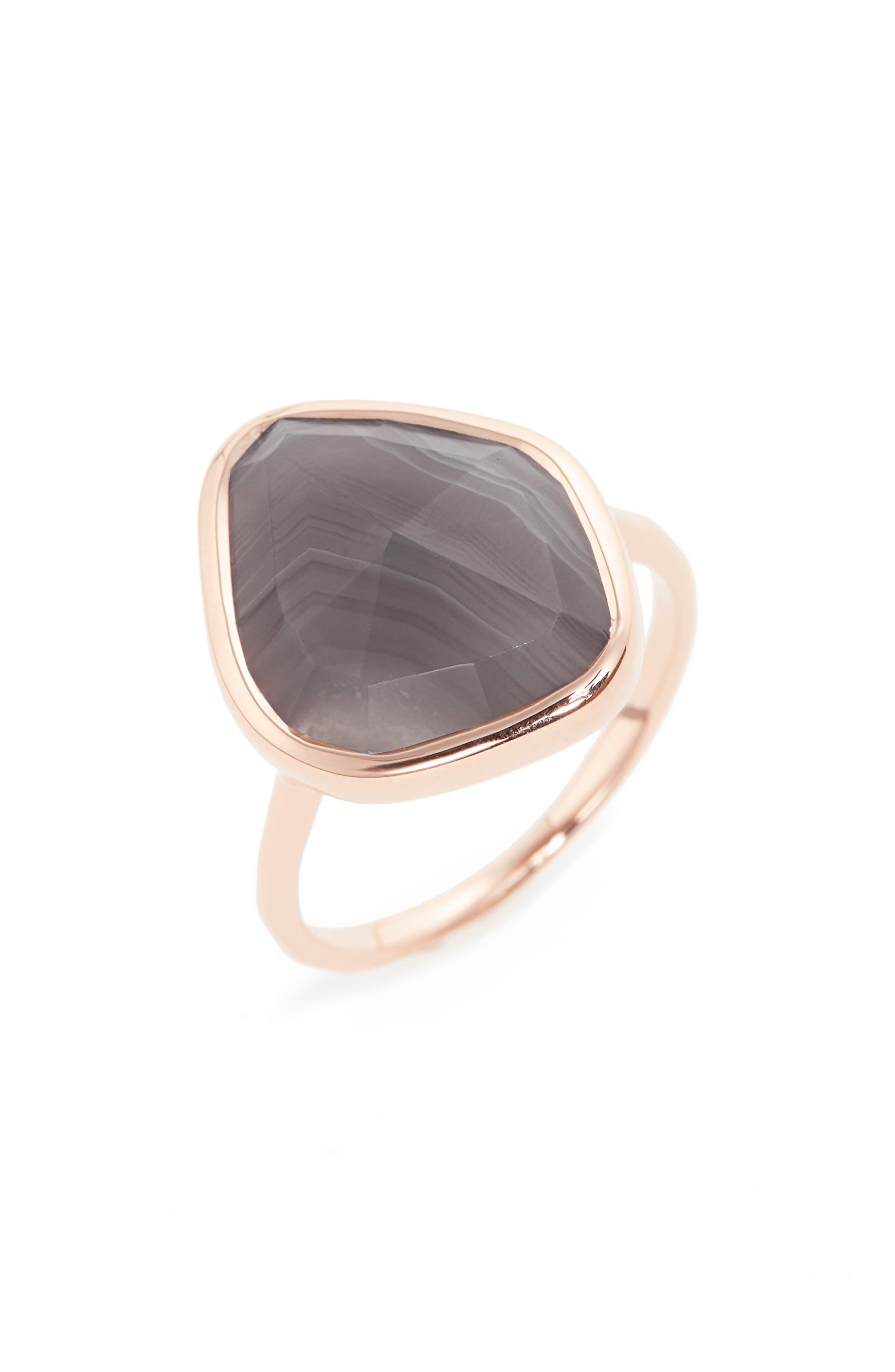 Siren Nugget Semiprecious Stone Ring,                         Main,                         color, Rose Gold/ Grey Agate