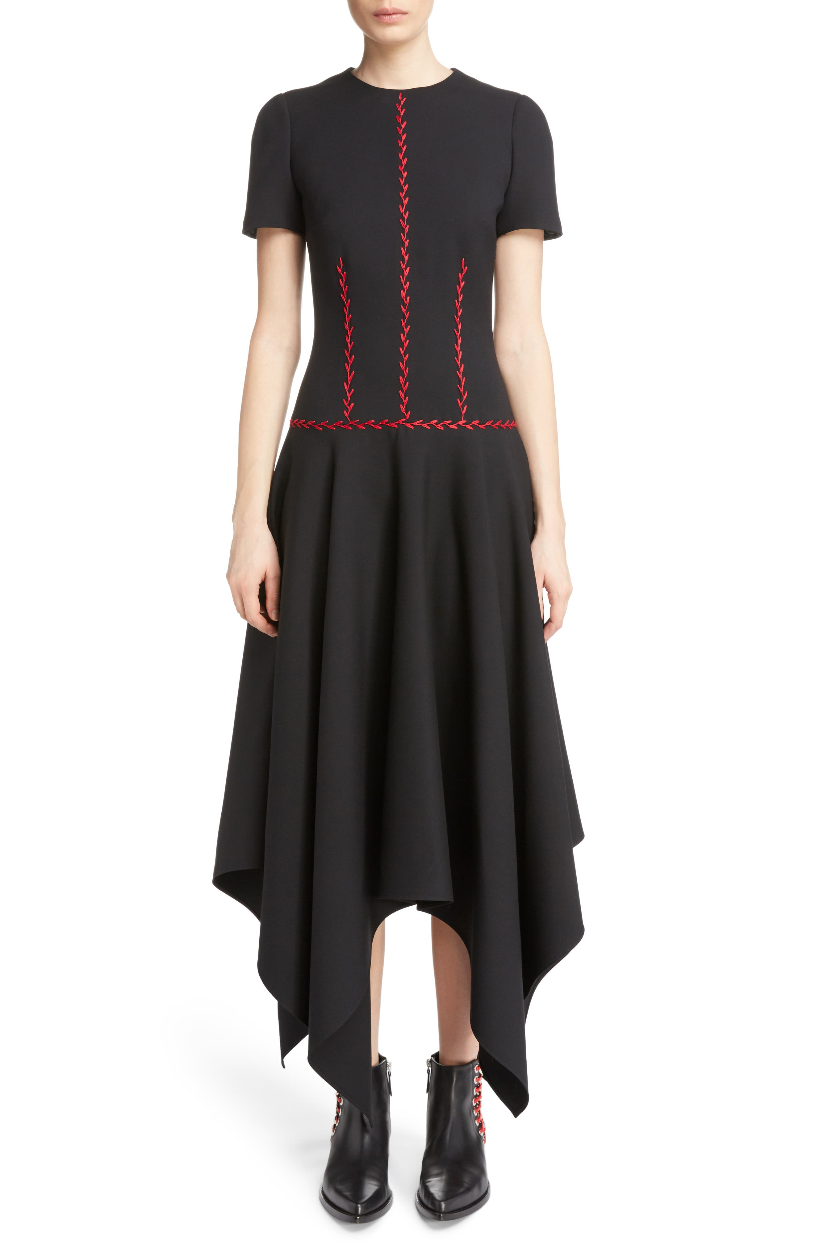 Stitched Handkerchief Hem Dress,                         Main,                         color, Black