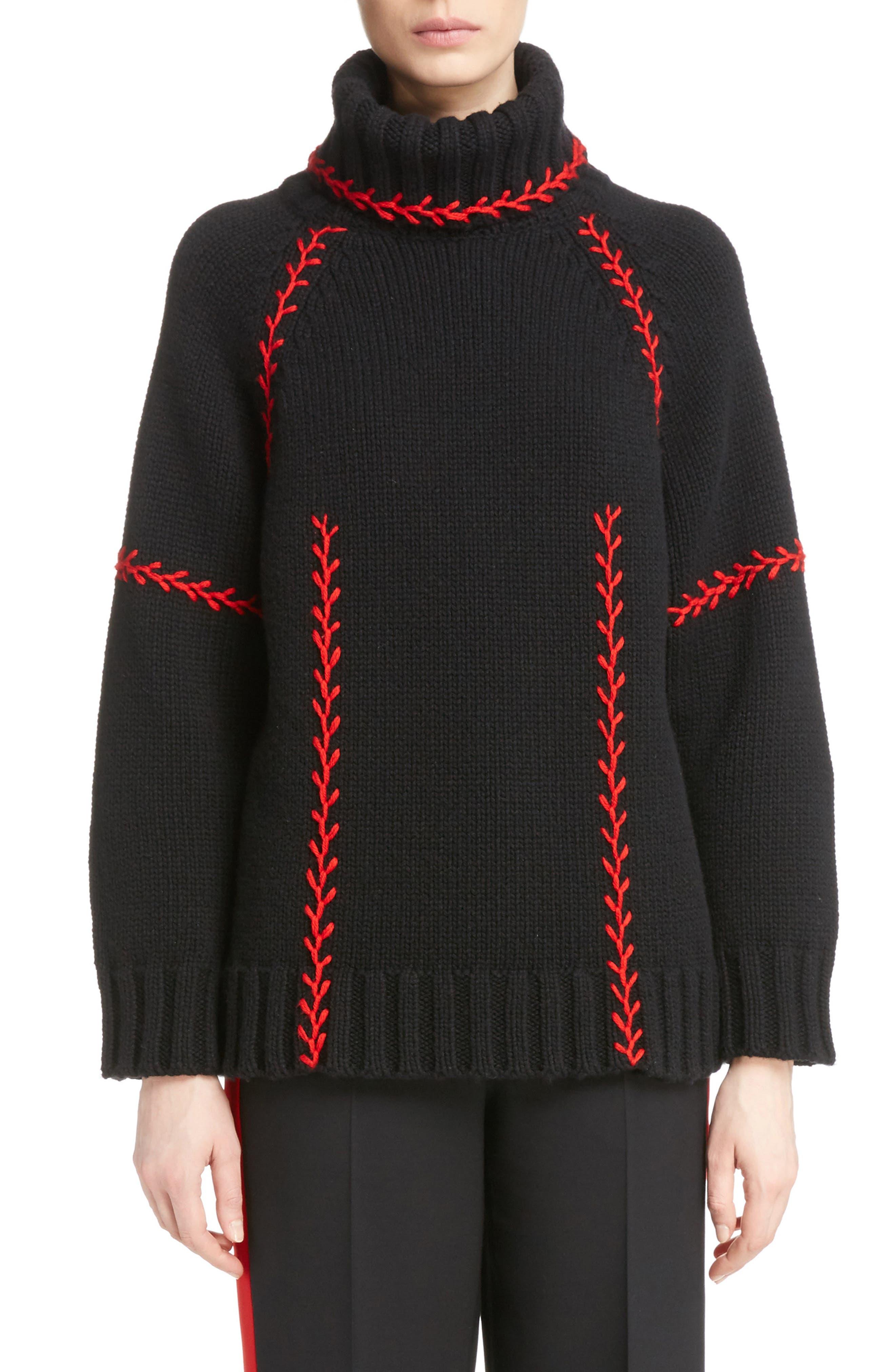 Alternate Image 1 Selected - Alexander McQueen Stitch Detail Cashmere Turtleneck Sweater