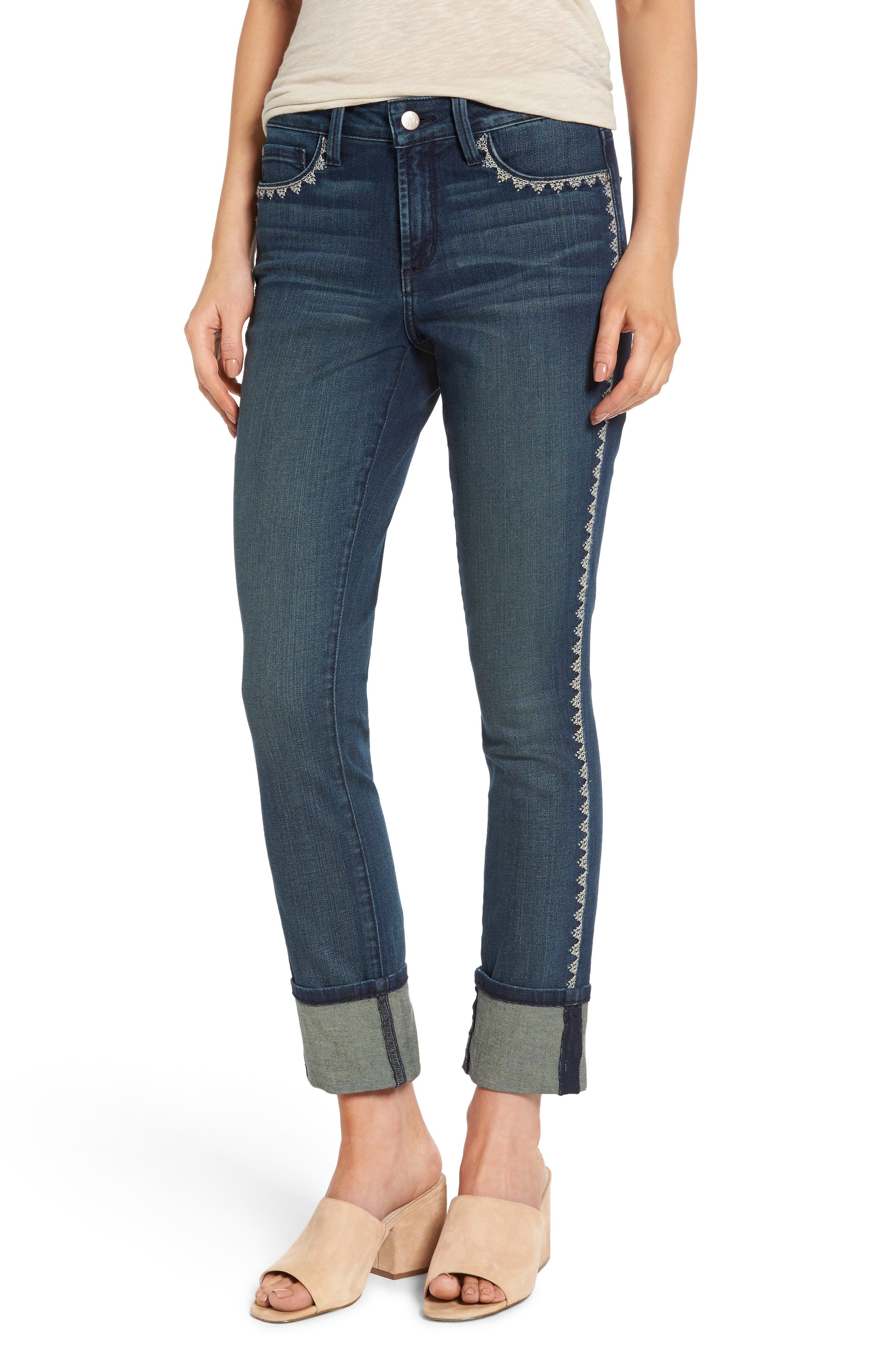 Alina Embroidered Wide Cuff Stretch Ankle Jeans,                             Main thumbnail 1, color,                             Oak Hill