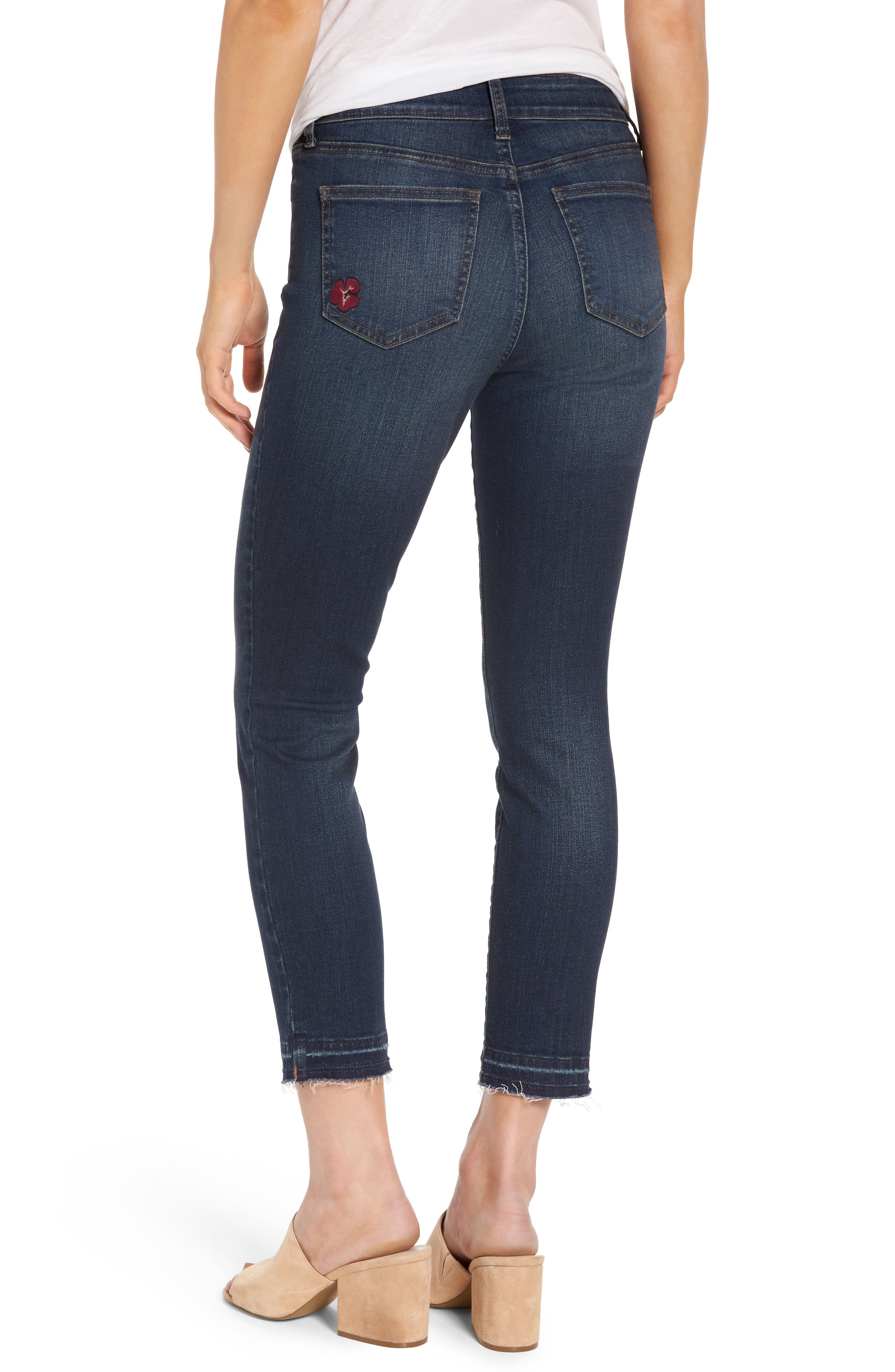 Alternate Image 2  - NYDJ Alina Embroidered Stretch Skinny Ankle Jeans (Horizon)