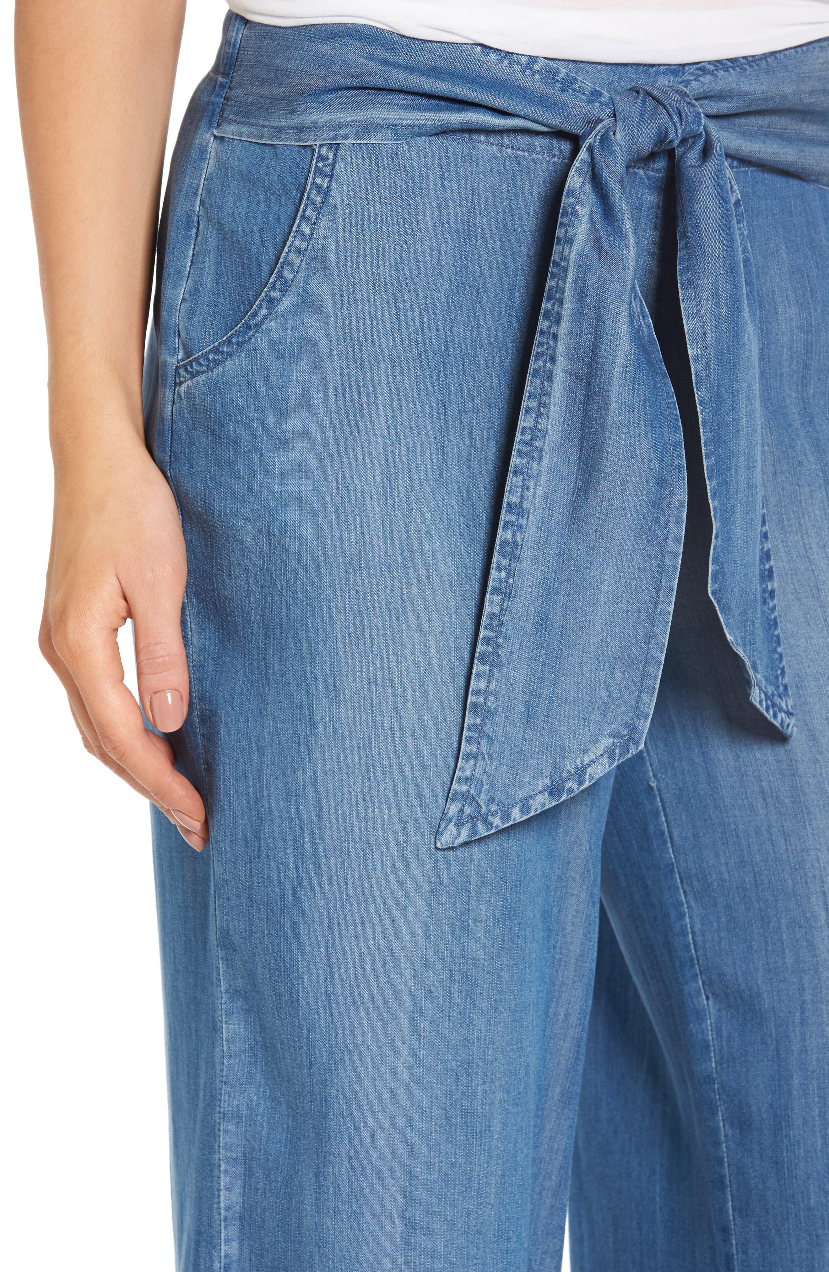 Tie Front Crop Chambray Pants,                             Alternate thumbnail 4, color,                             Medium Blue