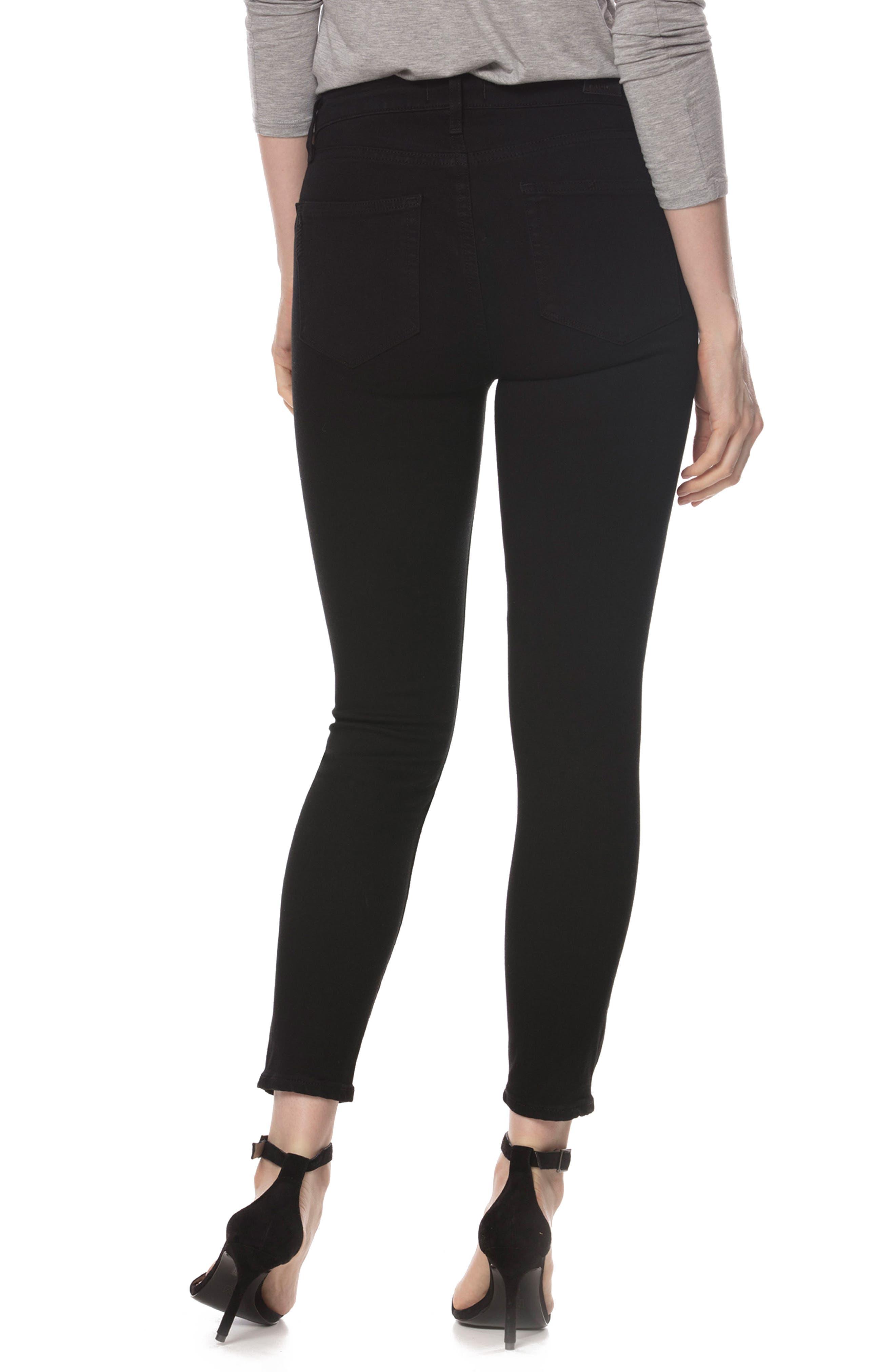 Alternate Image 3  - PAIGE Hoxton High Waist Crop Skinny Jeans (Black Shadow)