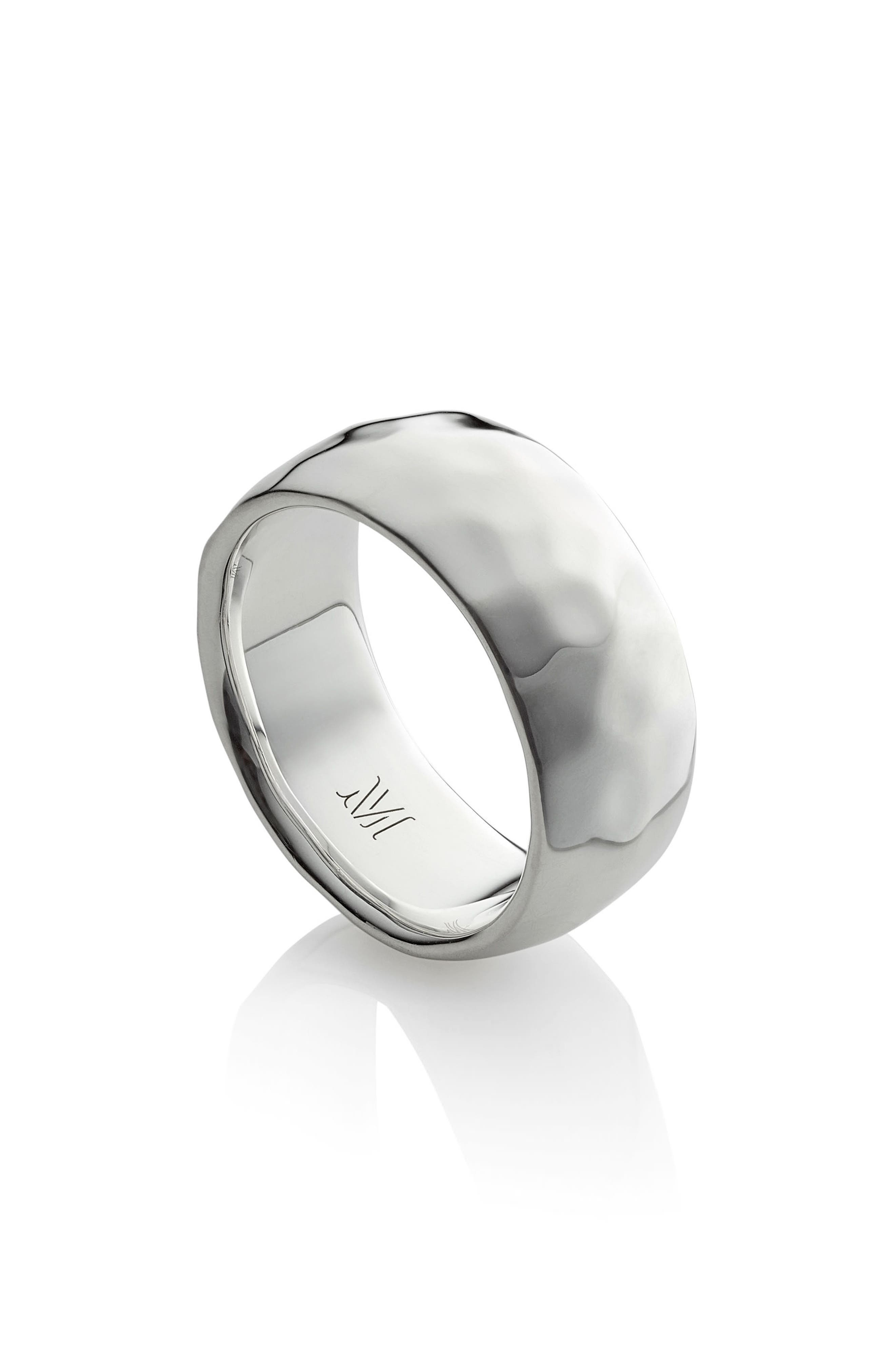 Alta Hammered Ring,                         Main,                         color, Silver