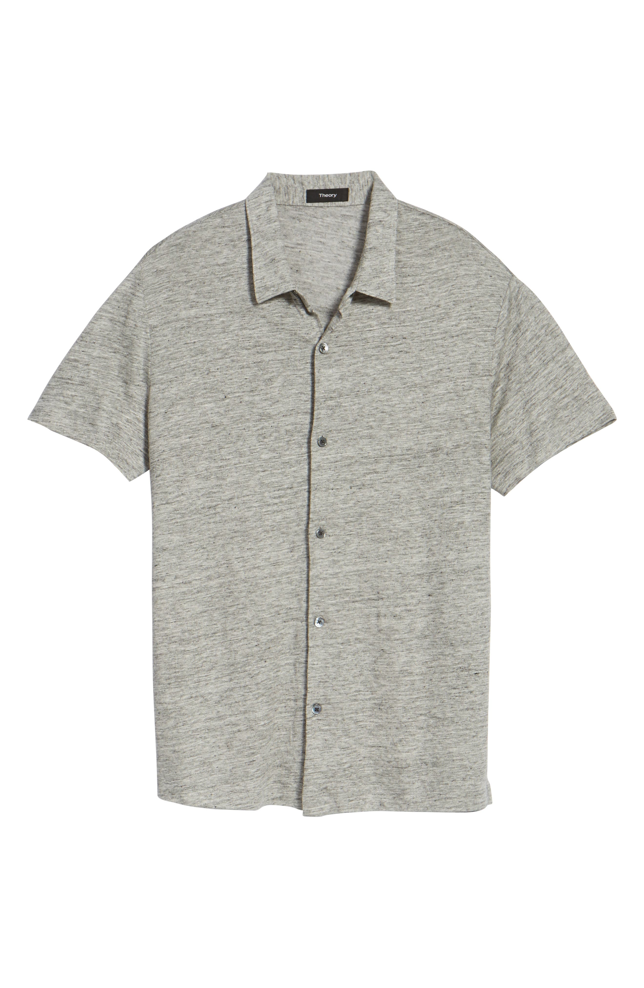 Linen Knit Sport Shirt,                             Alternate thumbnail 5, color,                             Grey Heather