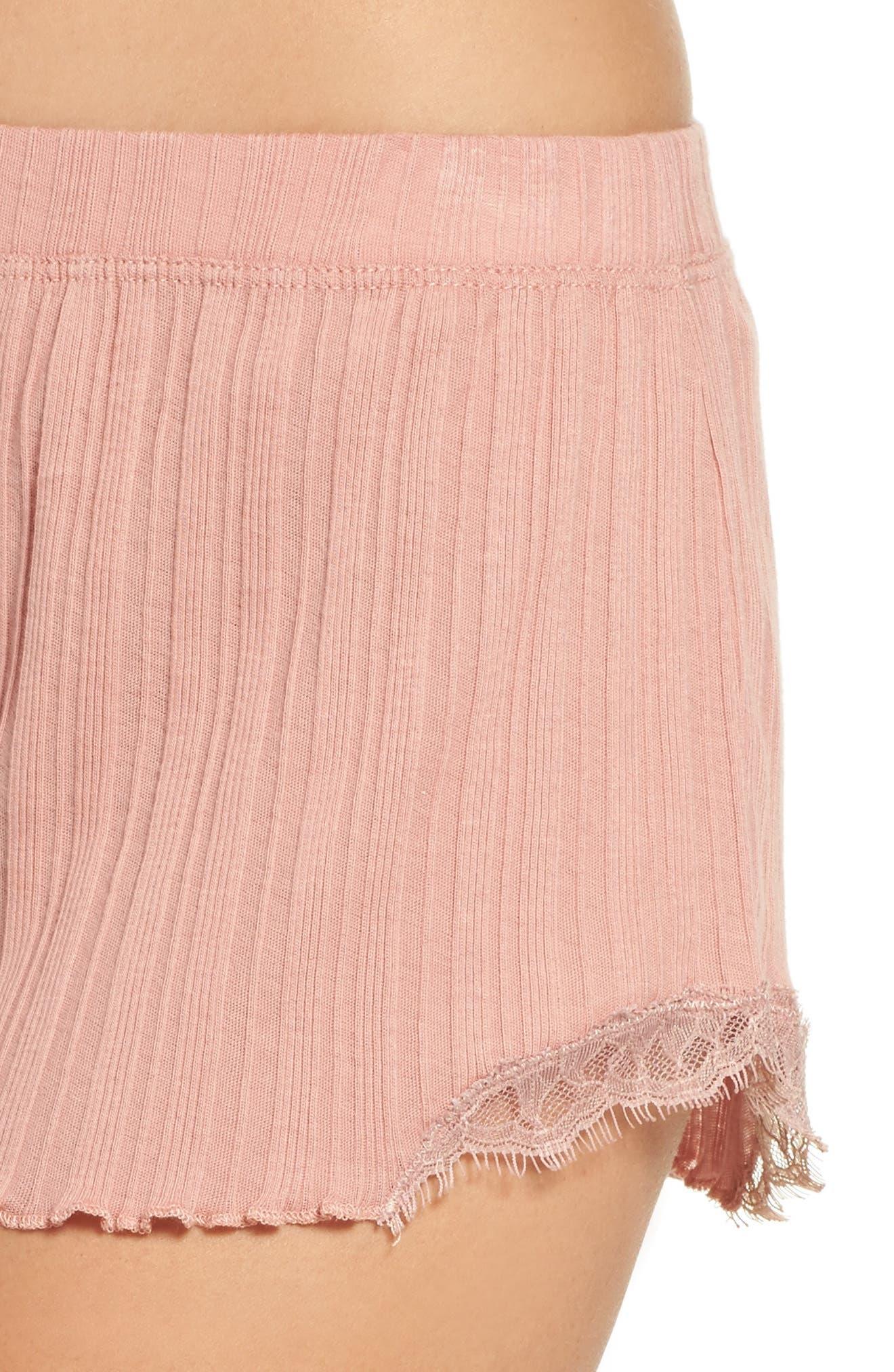 Ribbed Shorts,                             Alternate thumbnail 5, color,                             Vintage Pink