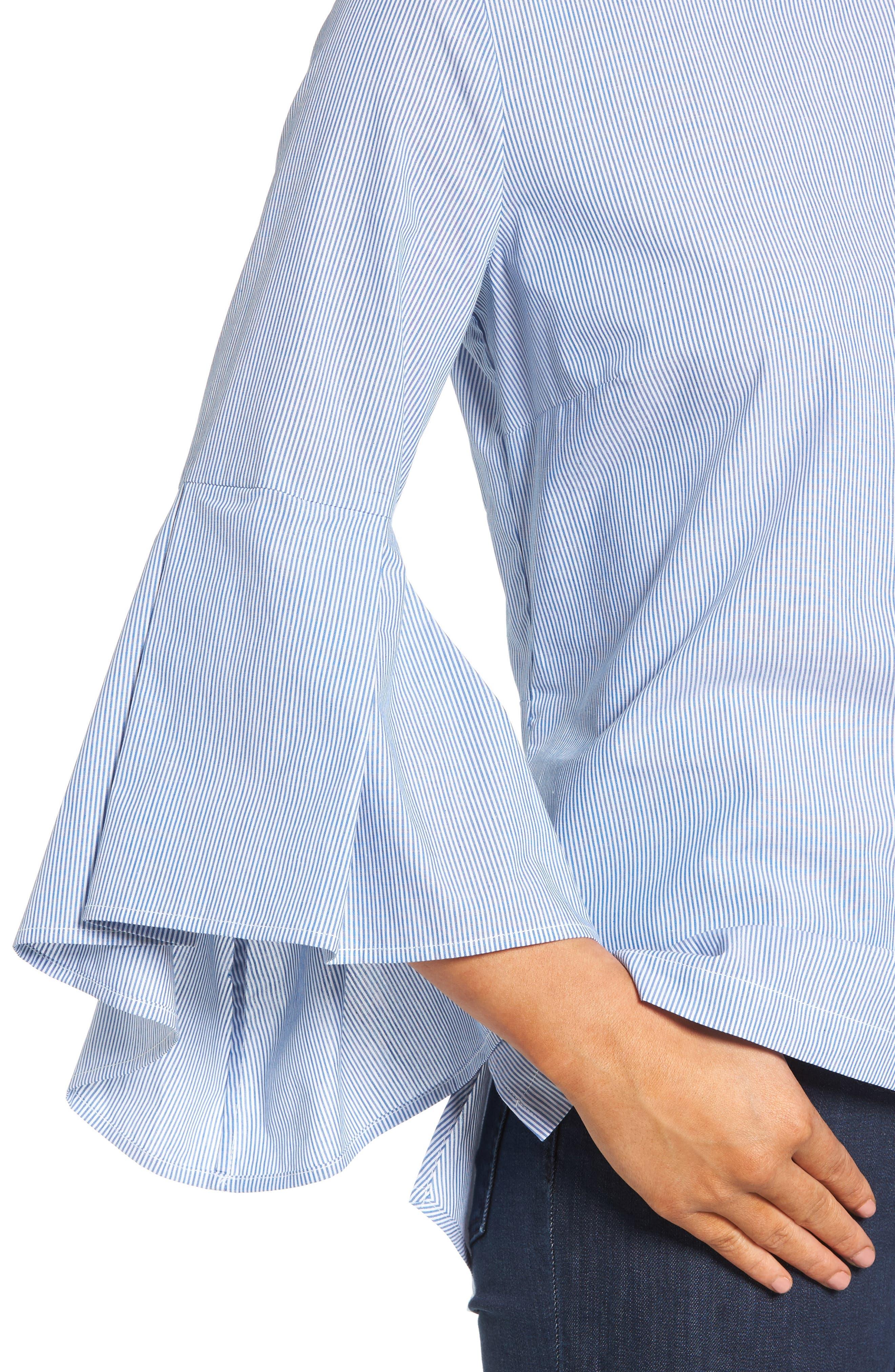 Ruffle Sleeve Poplin Shirt,                             Alternate thumbnail 5, color,                             Blue/ White Stripe
