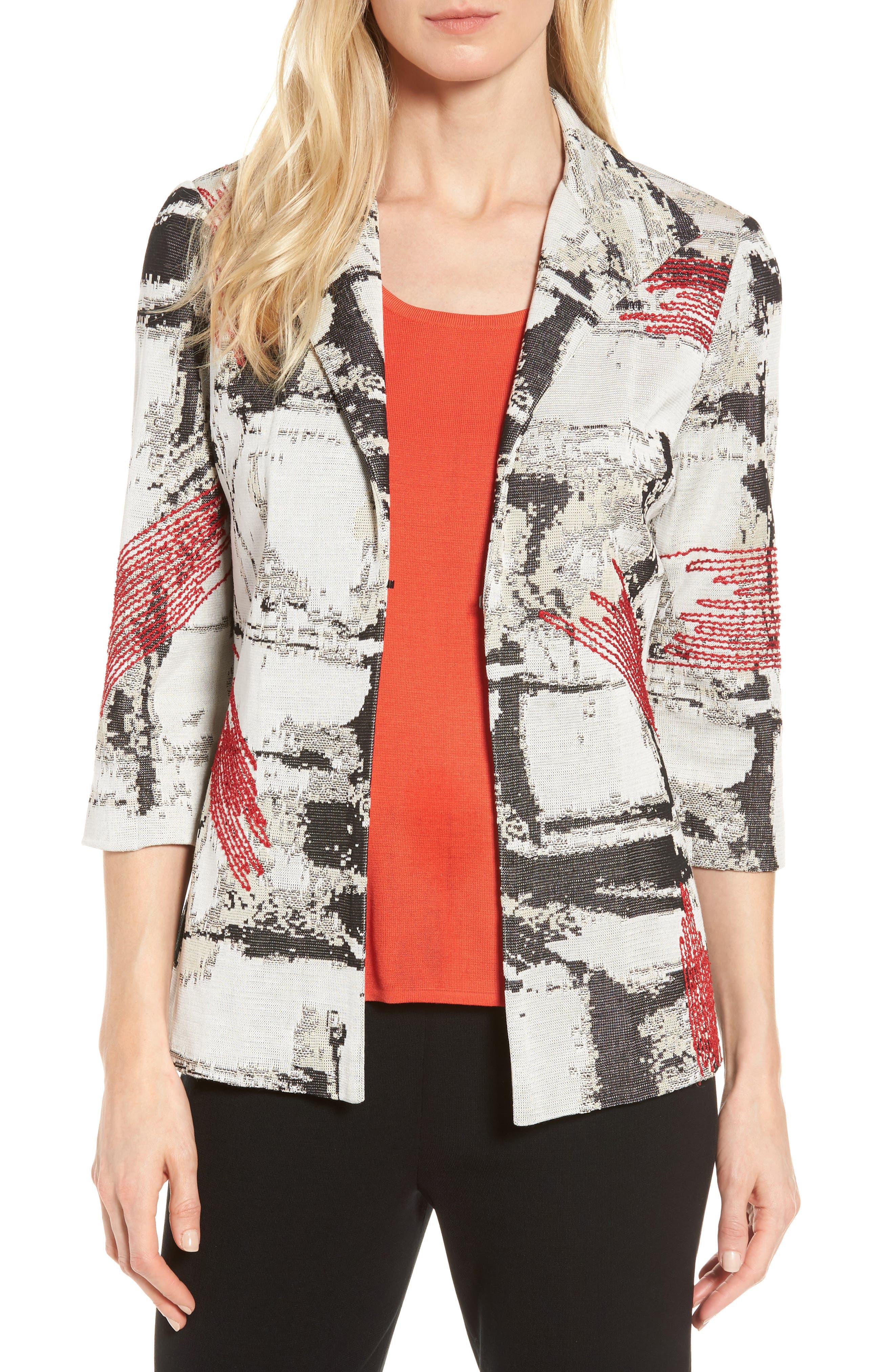 Three-Quarter Sleeve Jacket,                         Main,                         color, Multi