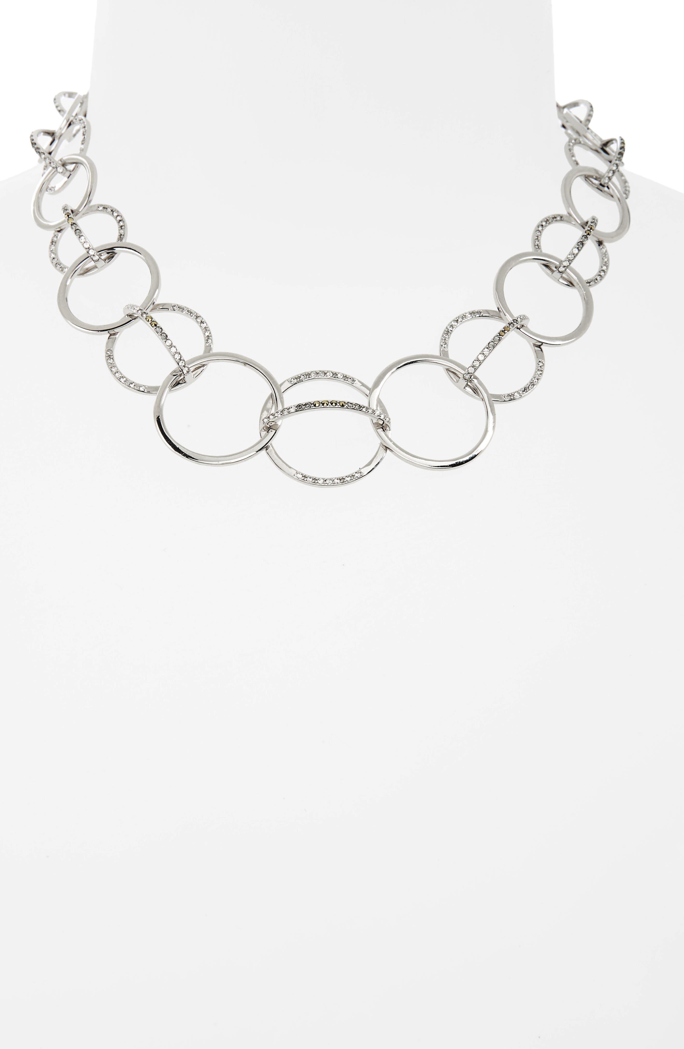 Silver Sparkle Collar Necklace,                             Alternate thumbnail 2, color,                             Black Diamond/ Marcasite