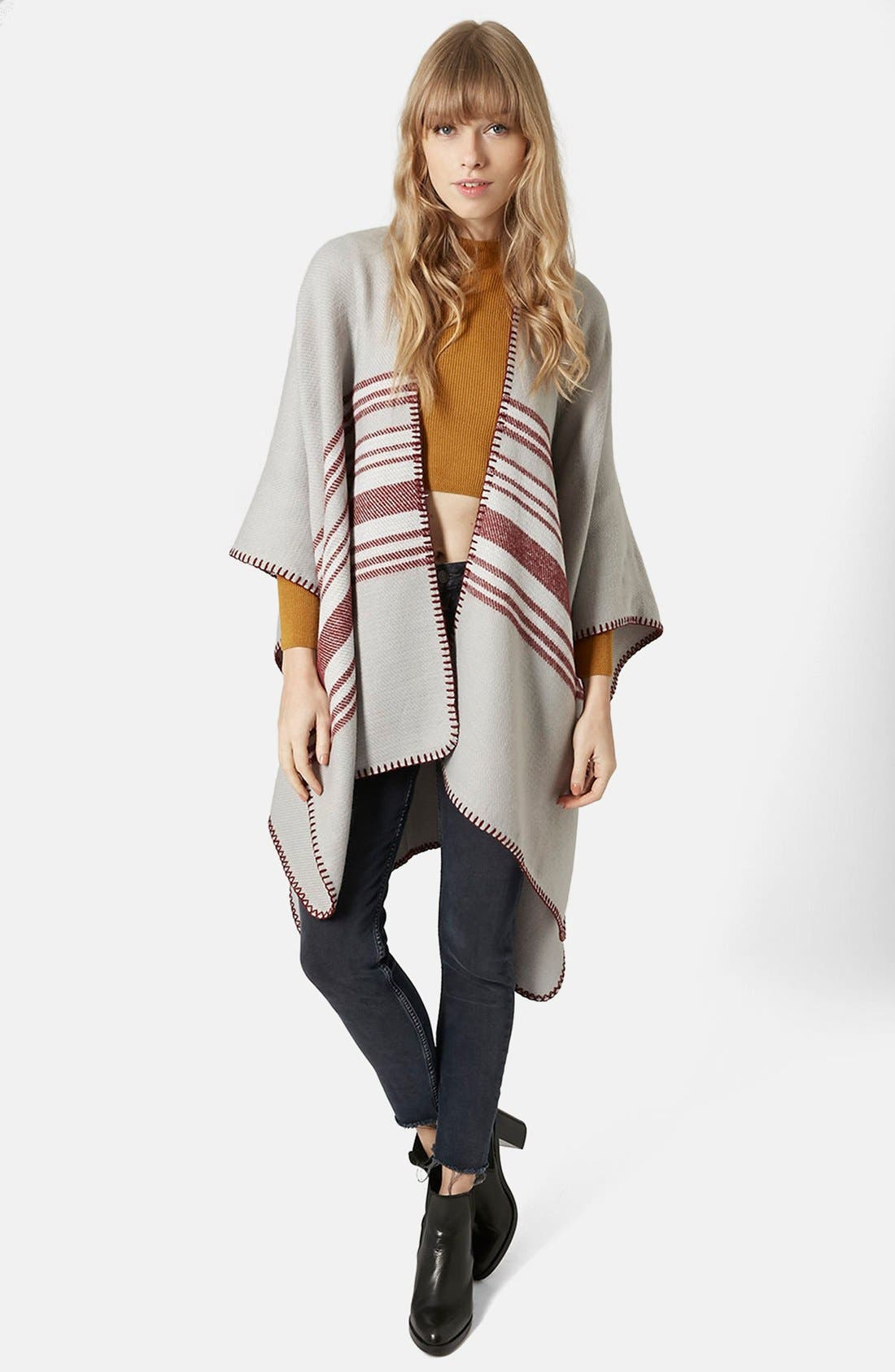 Alternate Image 2  - Topshop Stripe Blanket Cape