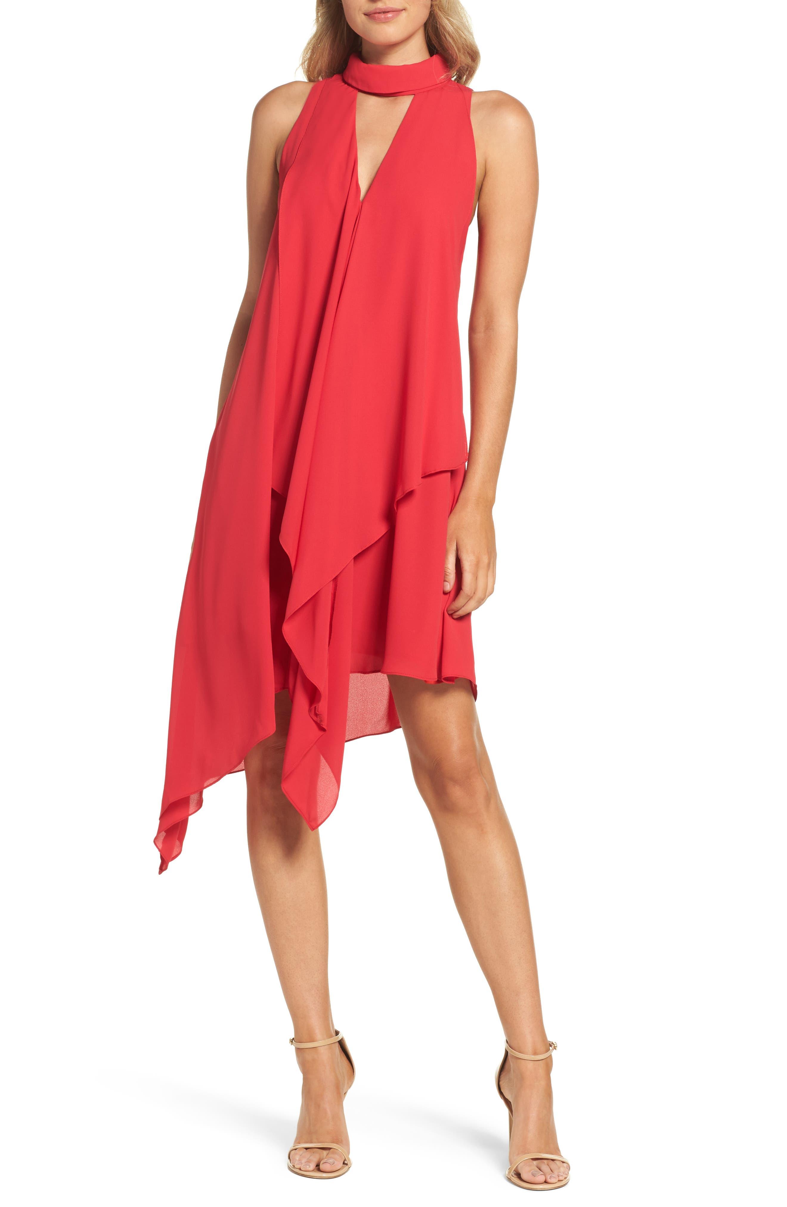 Maggy London Asymmetric Hem Shift Dress (Regular & Petite)