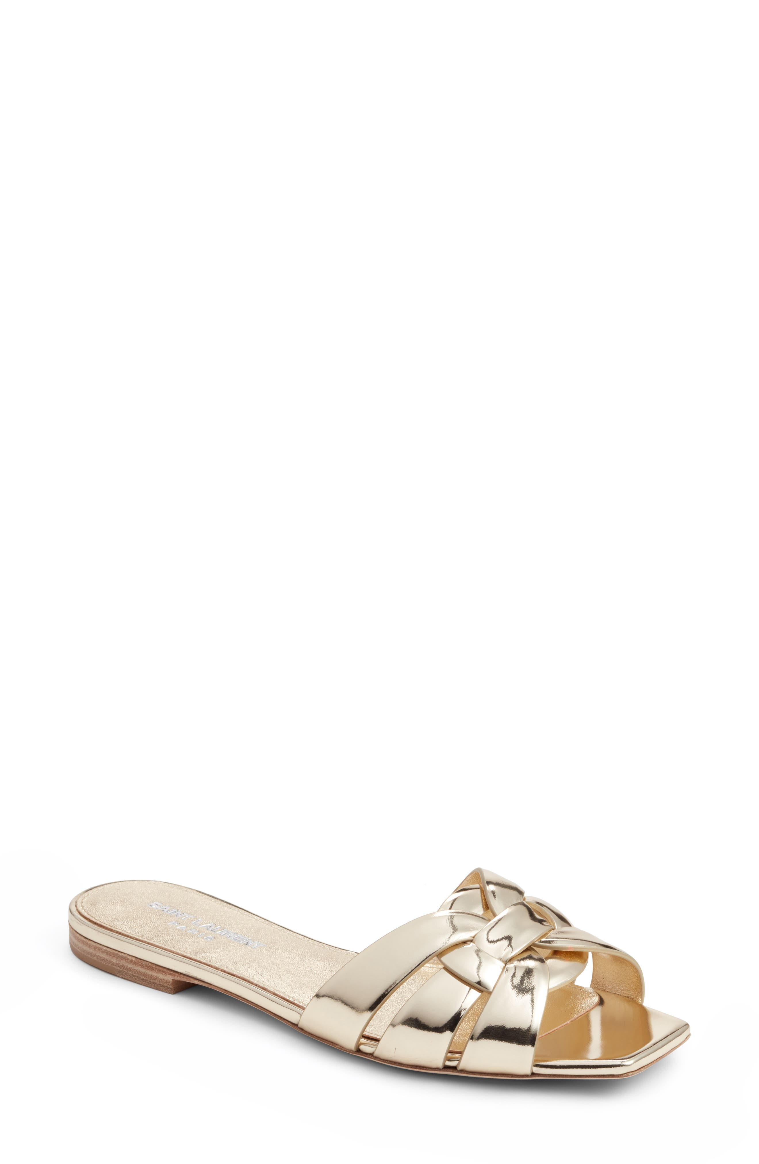 Tribute Slide Sandal,                         Main,                         color, Metallic Gold