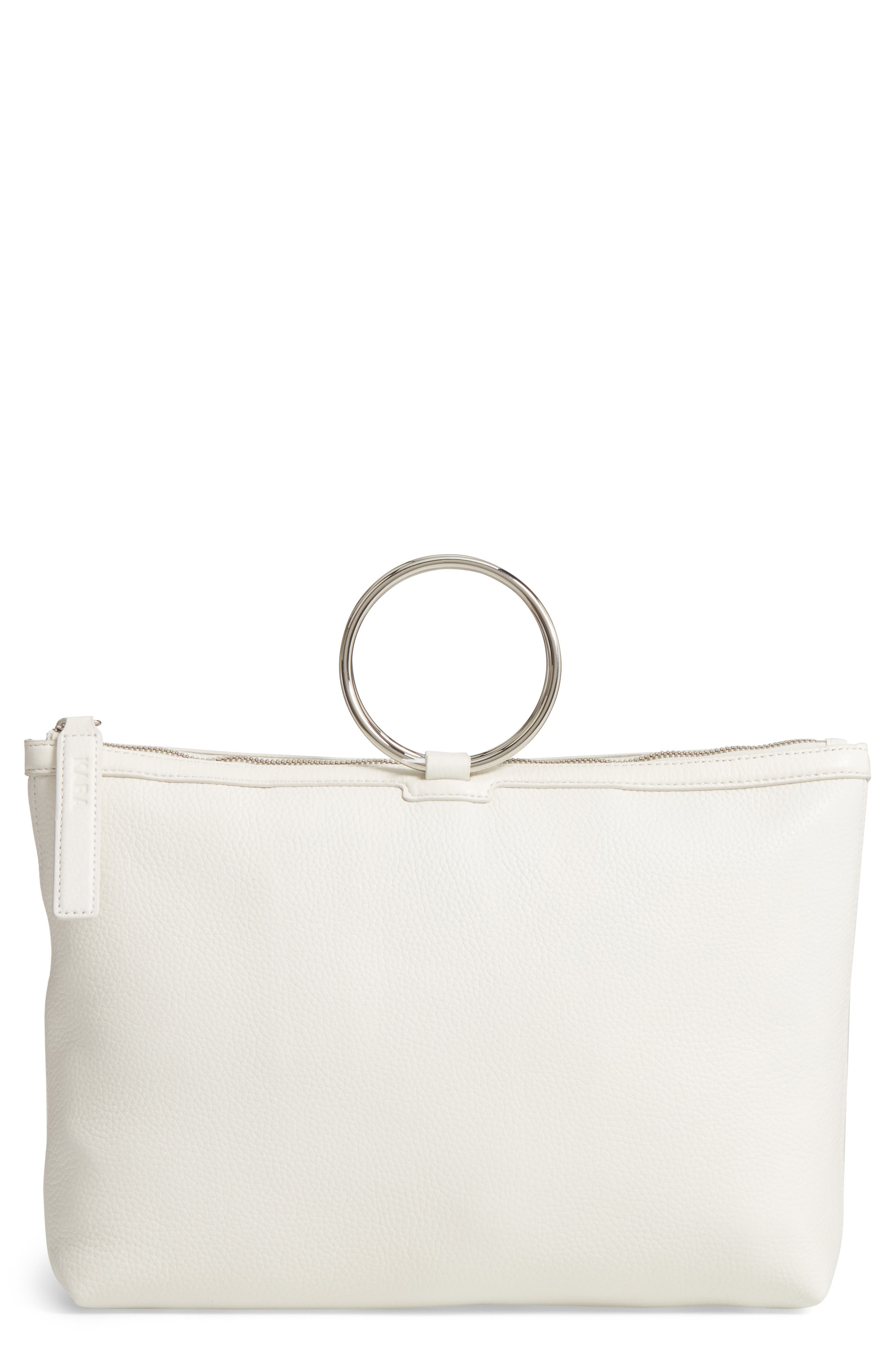 Large Pebbled Leather Ring Clutch,                         Main,                         color, Off White