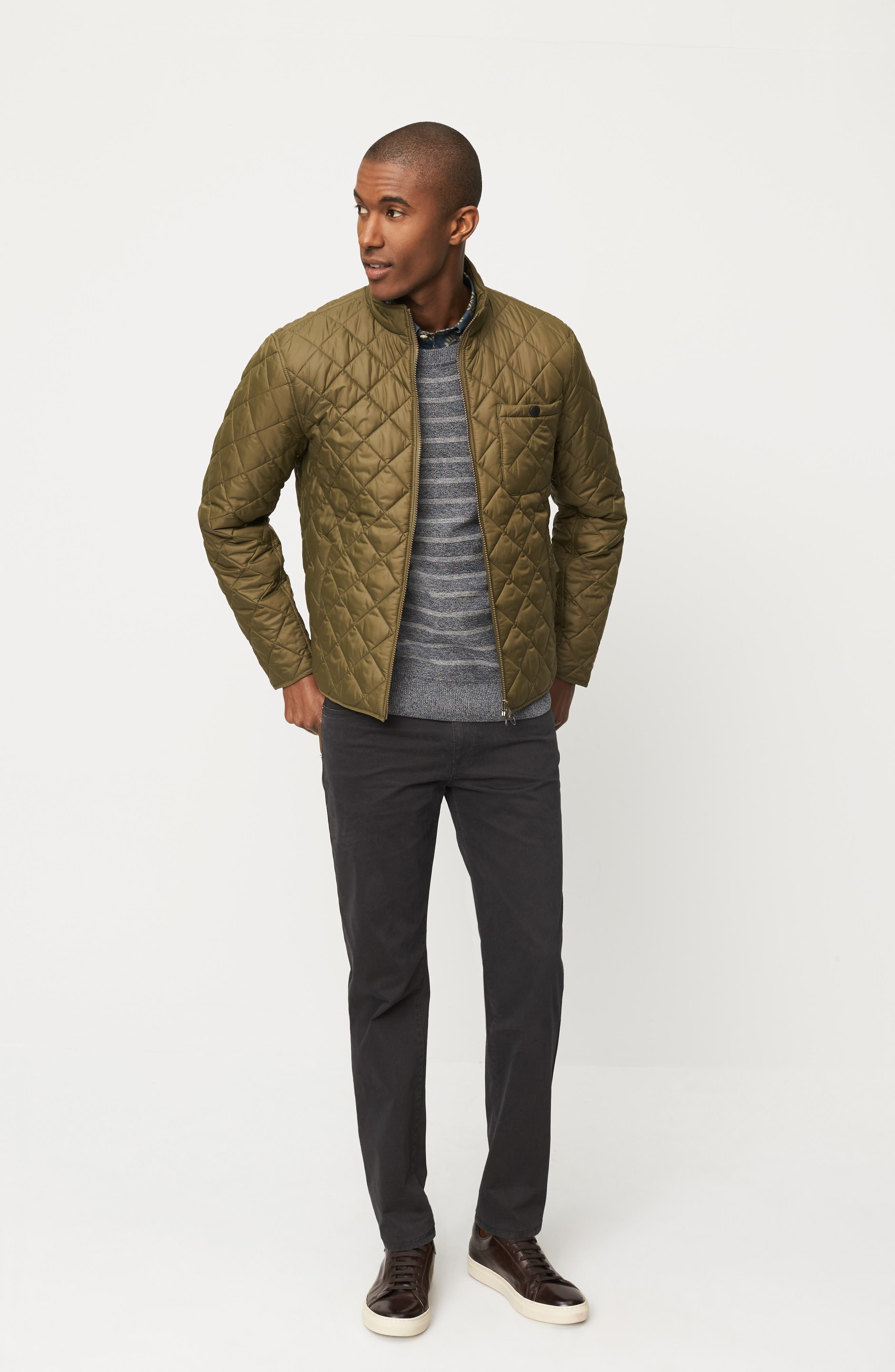 Barbour Jacket, Billy Reid Sweatshirt & Brax Trousers Outfit with Accessories