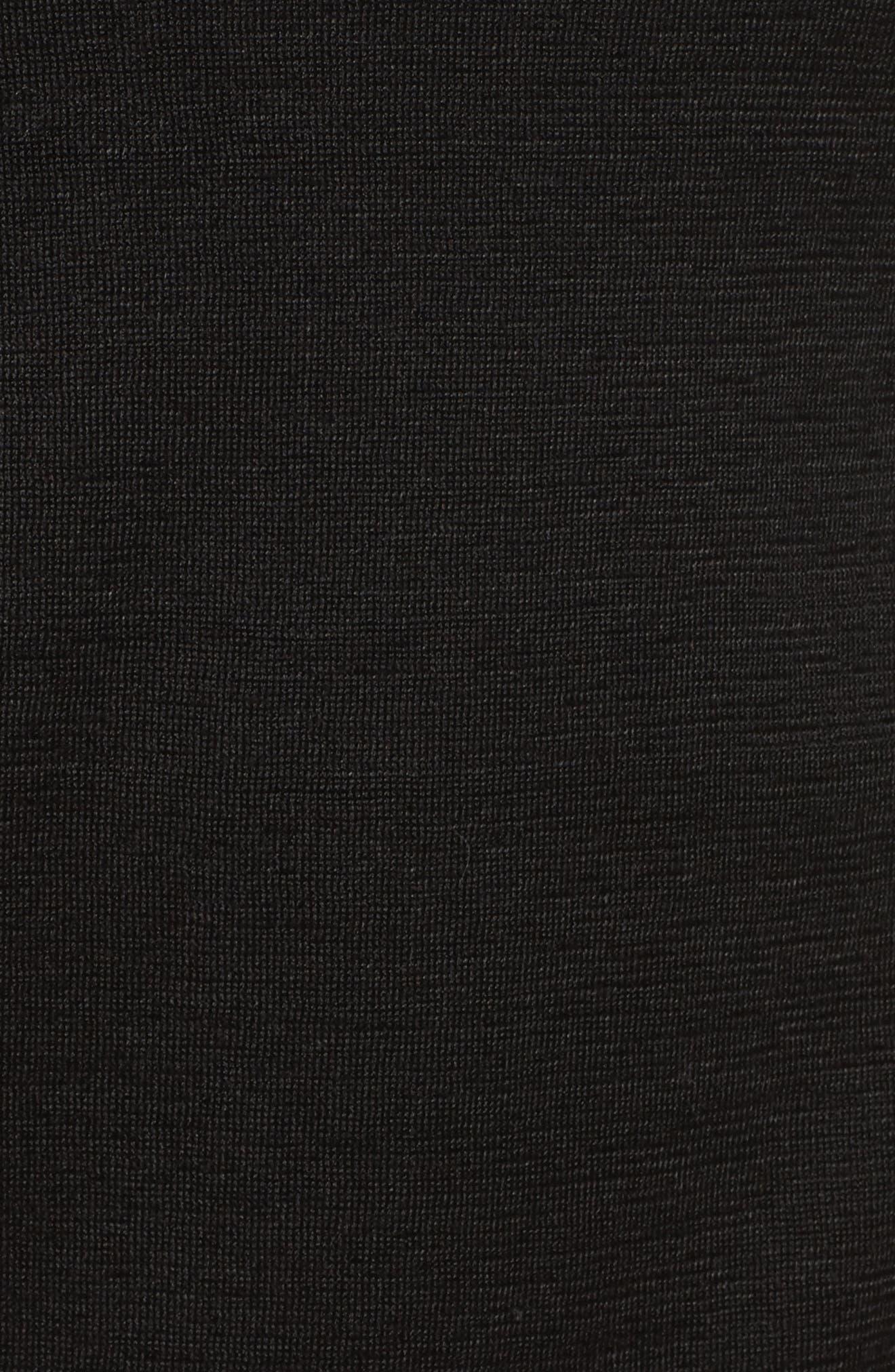 NICE+ZOE Crochet Trim Linen Blend Top,                             Alternate thumbnail 5, color,                             Black Onyx