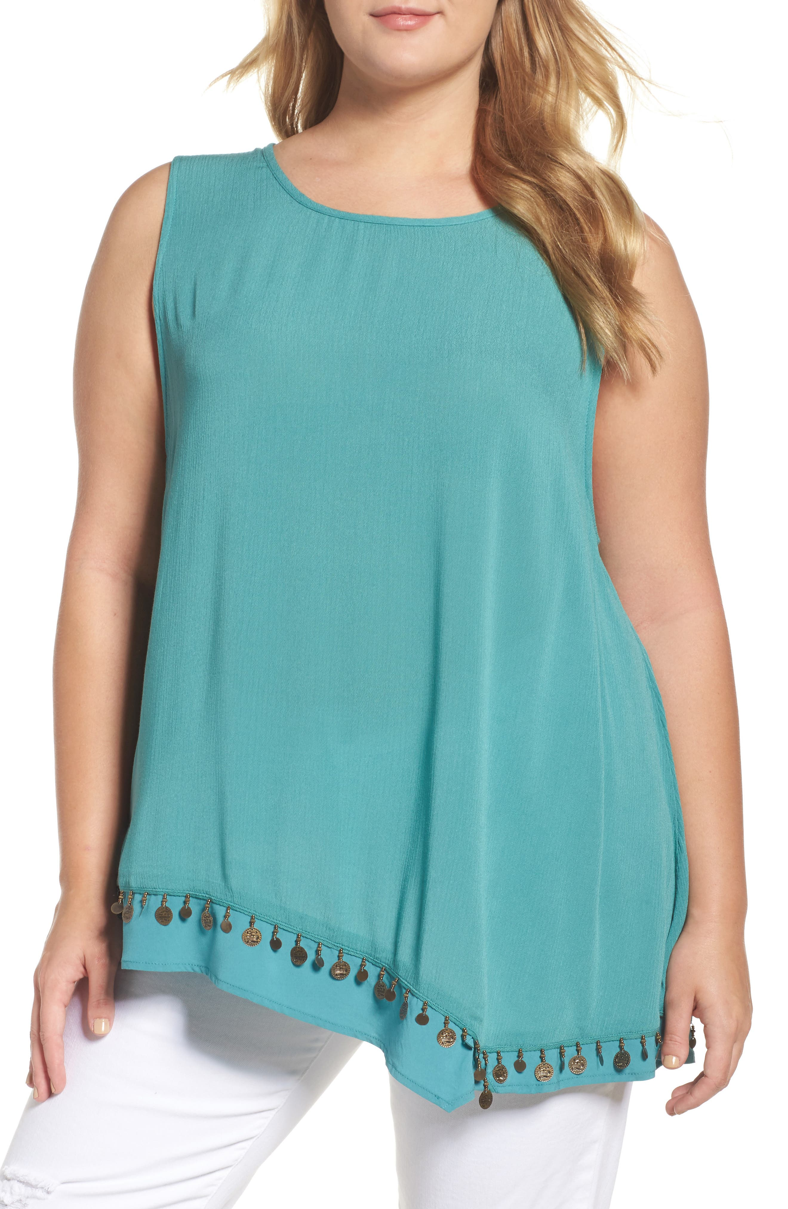 Coin Detail Asymmetrical Double Layer Tank,                         Main,                         color, Bright Teal
