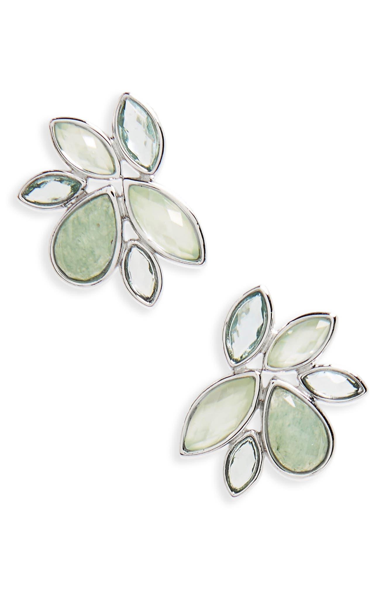 Lakeside Stud Earrings,                         Main,                         color, Green