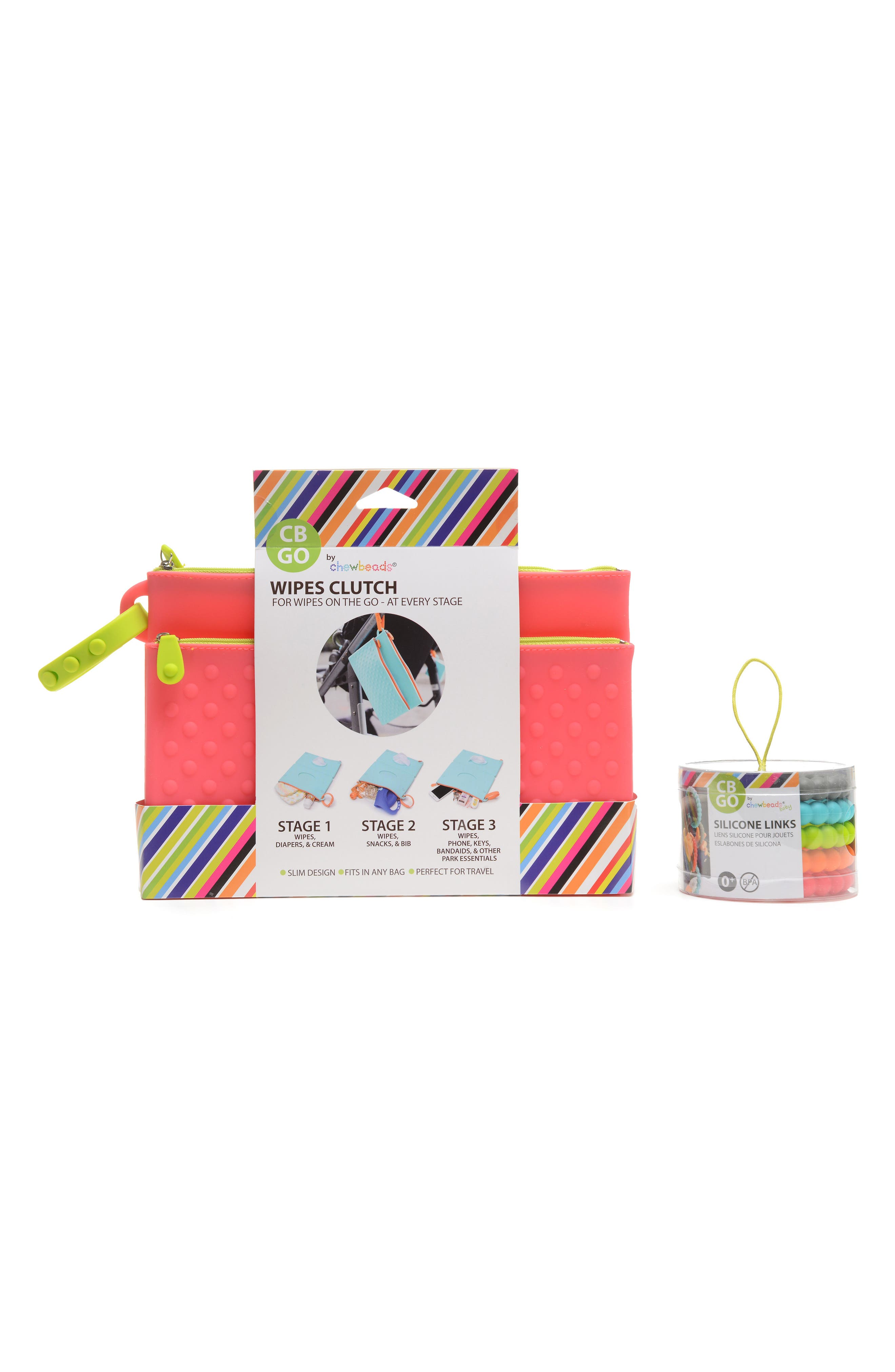 GO Wipes Case & Teething Links Set,                             Alternate thumbnail 2, color,                             Punchy Pink