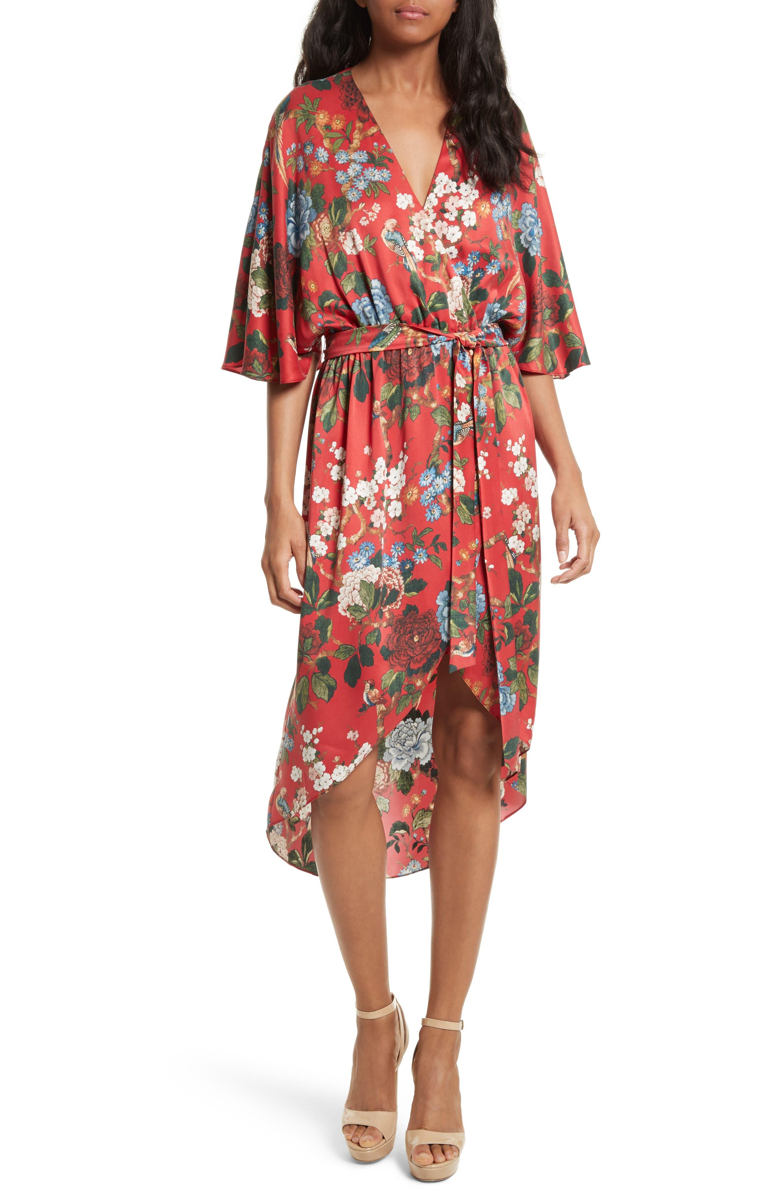 Clarine Floral Silk Wrap Dress,                         Main,                         color, Chinoiserie Garden/ Ruby