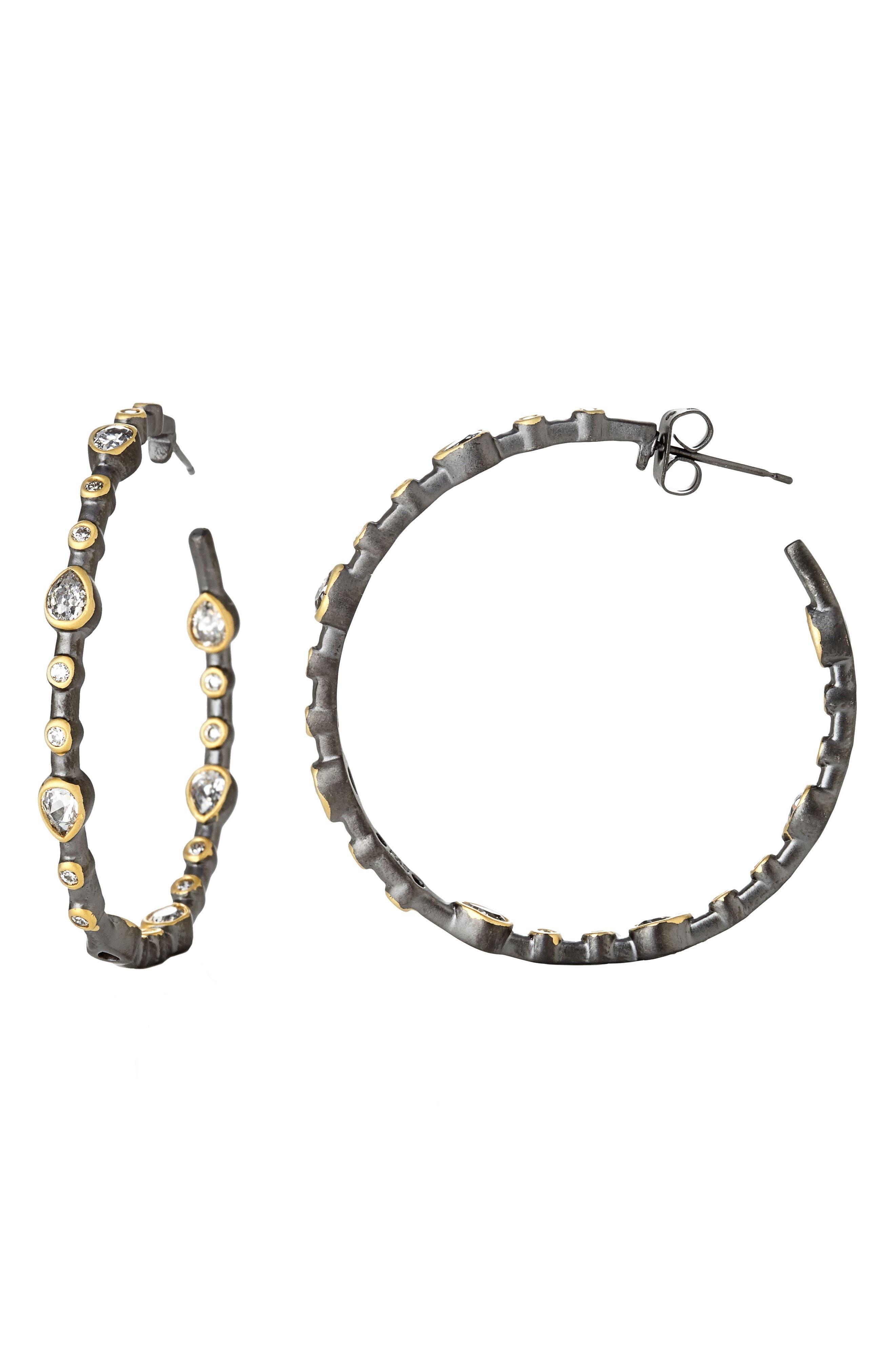 Signature Teardrop Hoop Earrings,                         Main,                         color, Gold/ Black
