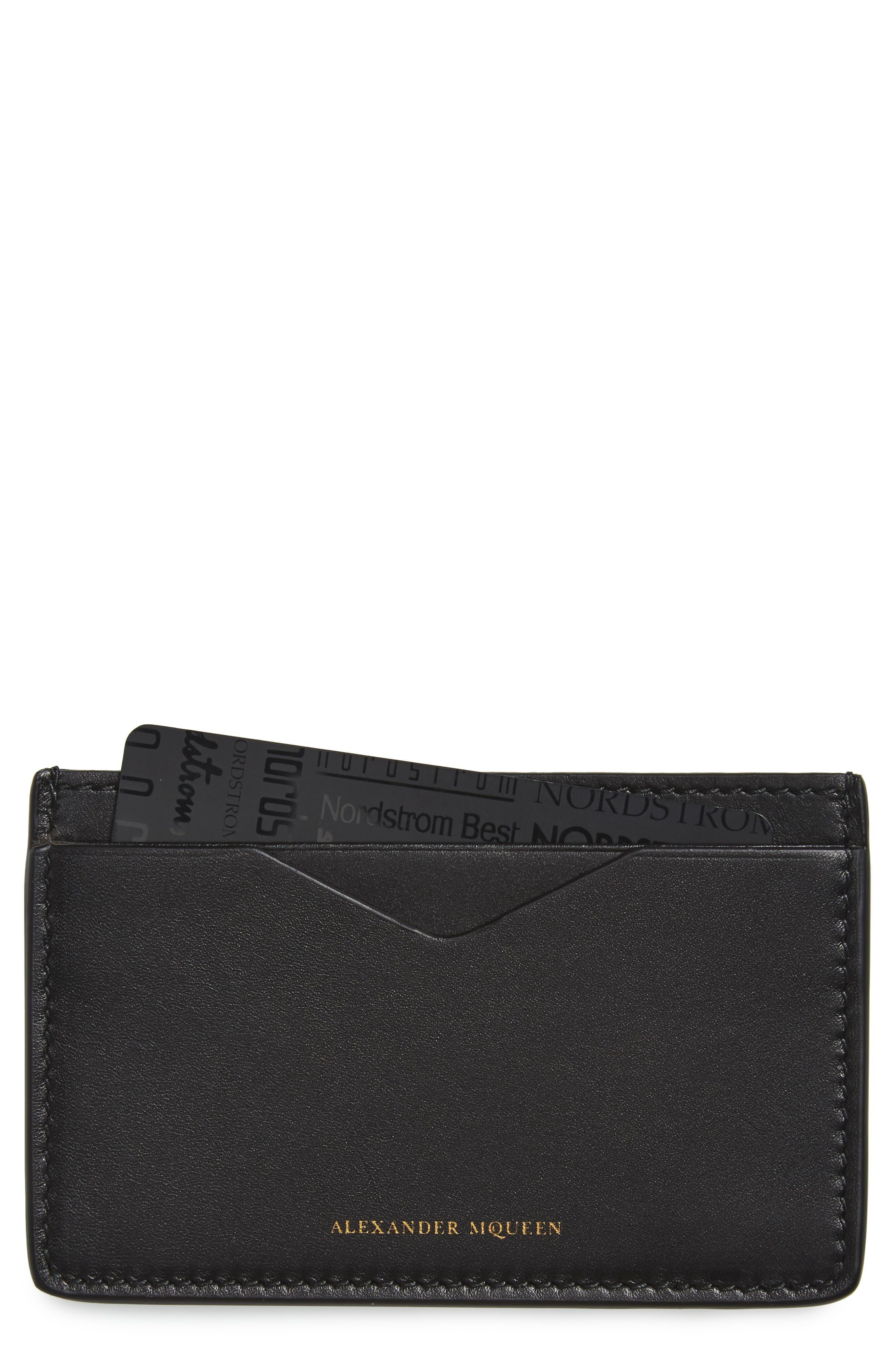 Leather Card Case,                         Main,                         color, Black