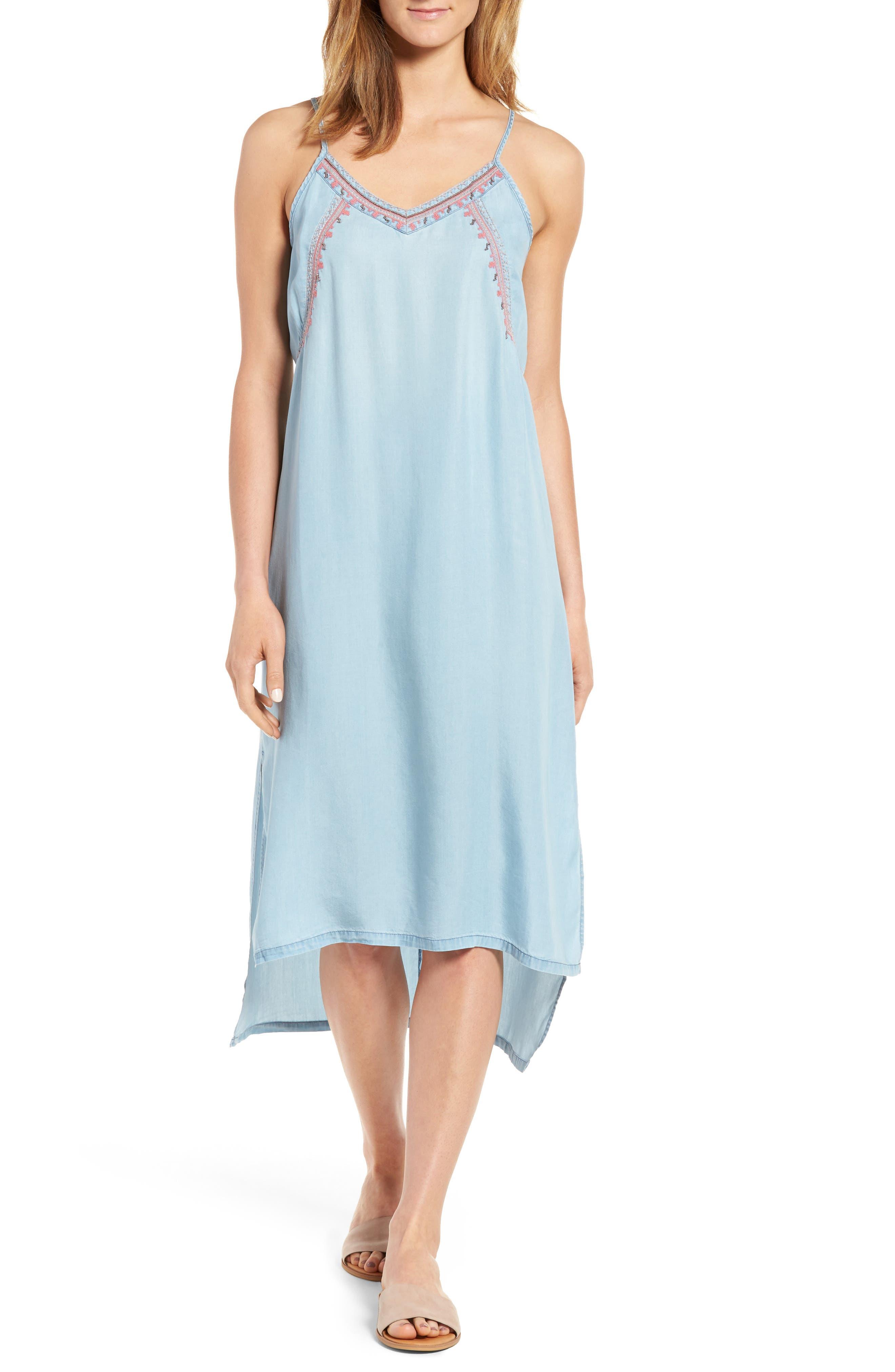 Embellished High/Low Chambray Slipdress,                         Main,                         color, Light Denim