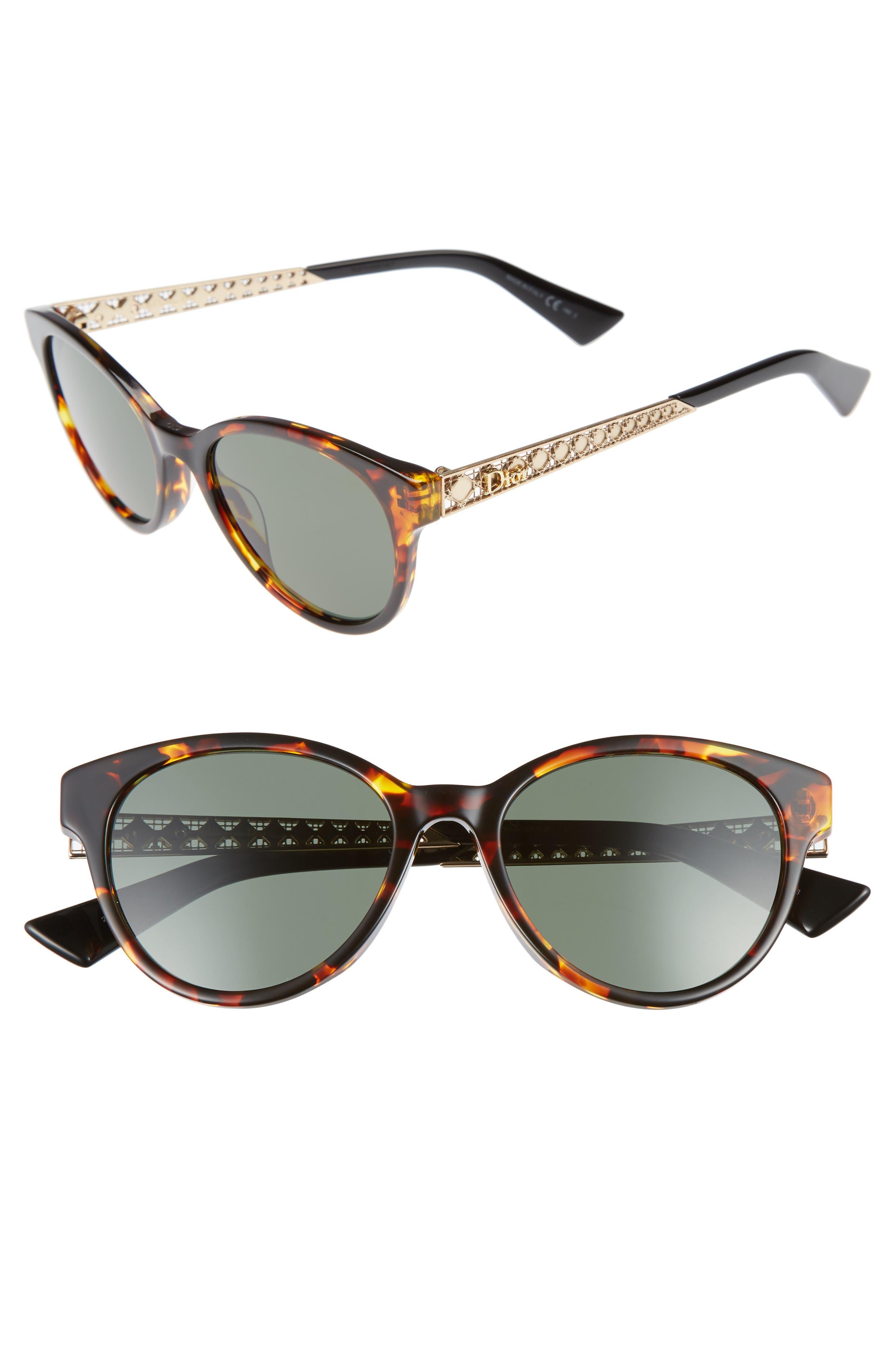 Diorama Mini 52mm Mirrored Lens Special Fit Sunglasses,                             Main thumbnail 1, color,                             Havana/ Gold