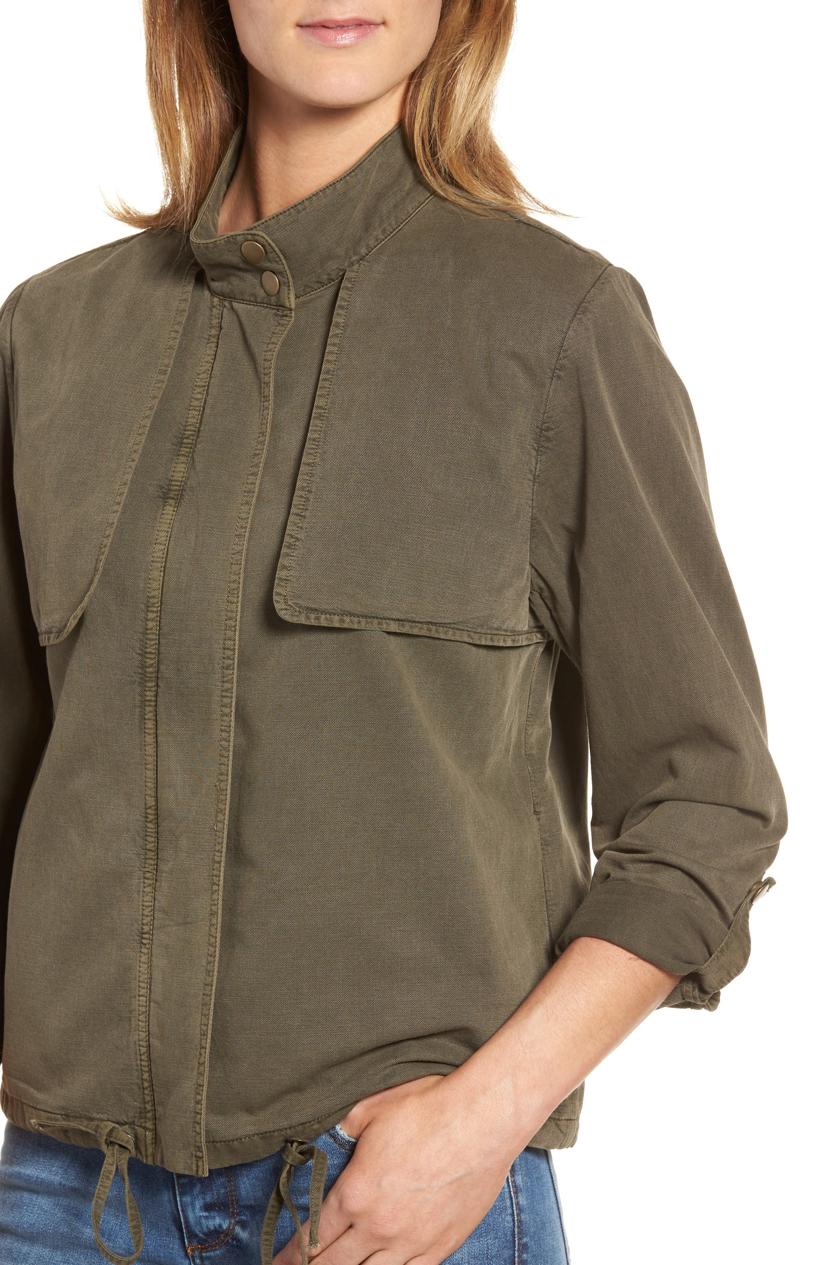 Drawstring Hem Utility Jacket,                             Alternate thumbnail 4, color,                             Olive Tarmac