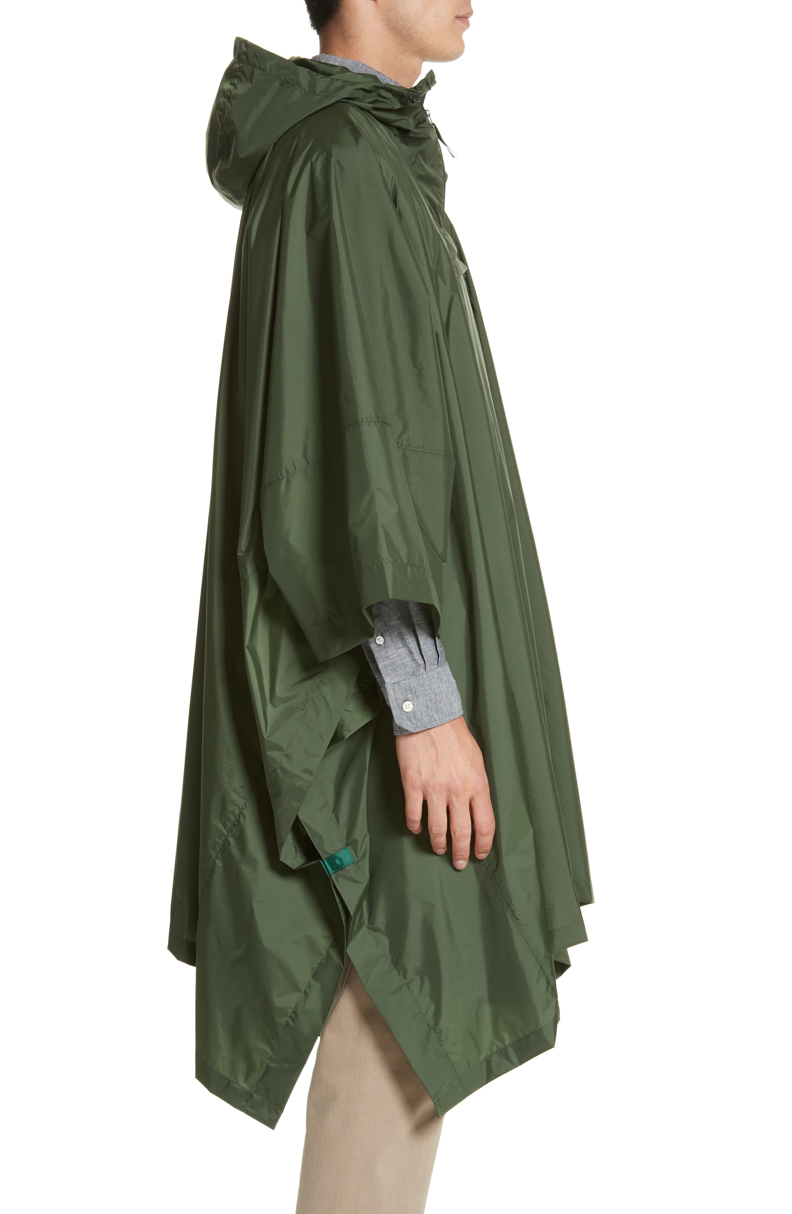 Packable Nylon Poncho,                             Alternate thumbnail 3, color,                             Forest Green