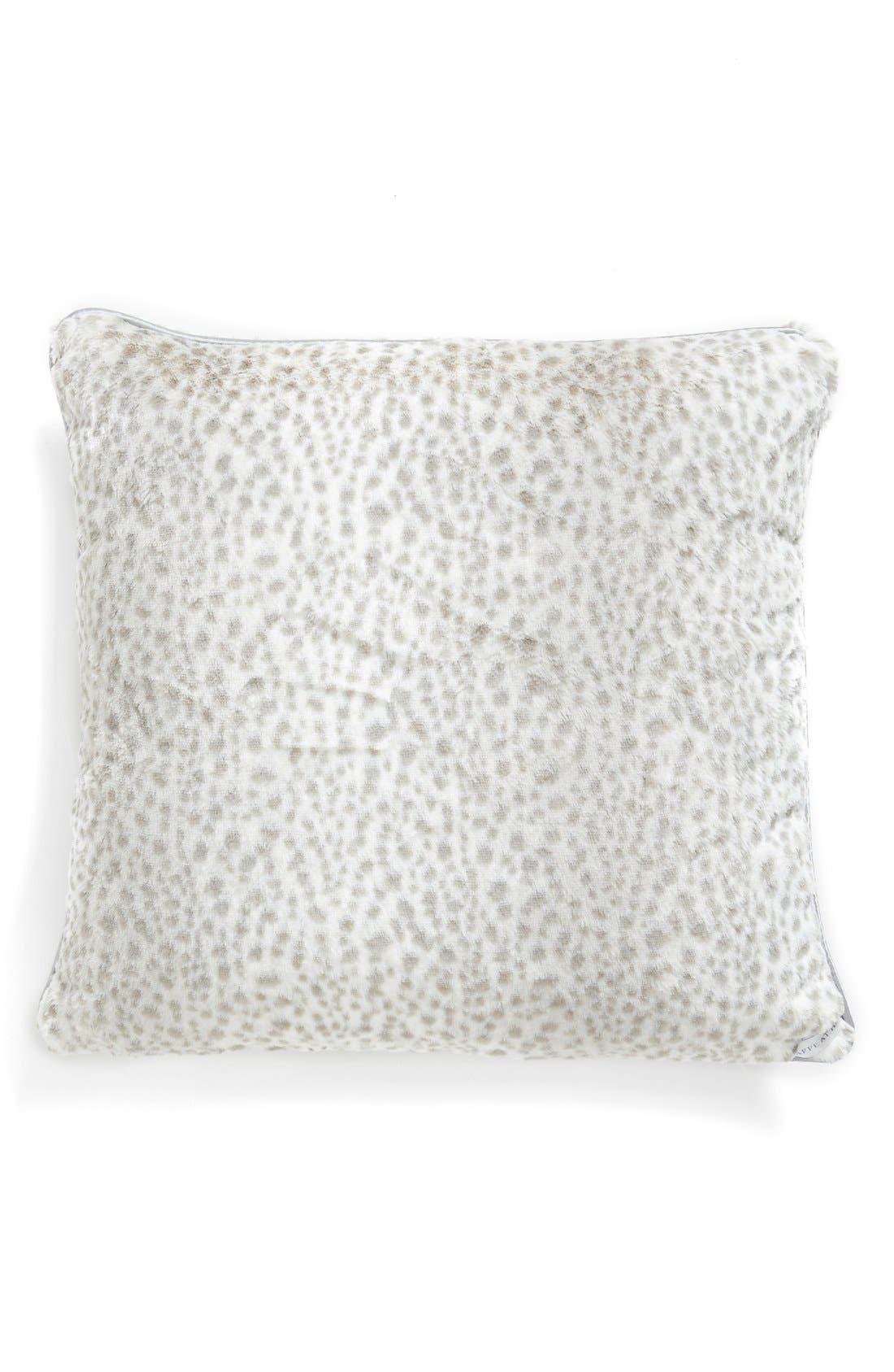'Snow Leopard' Faux Fur Throw Pillow,                             Main thumbnail 1, color,                             Silver